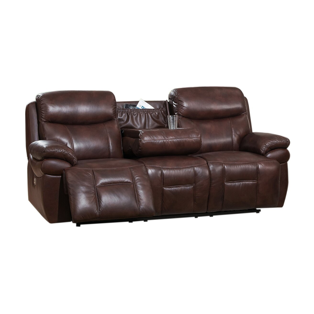 Amax sanford leather reclining sofa wayfair for Leather reclining sofa