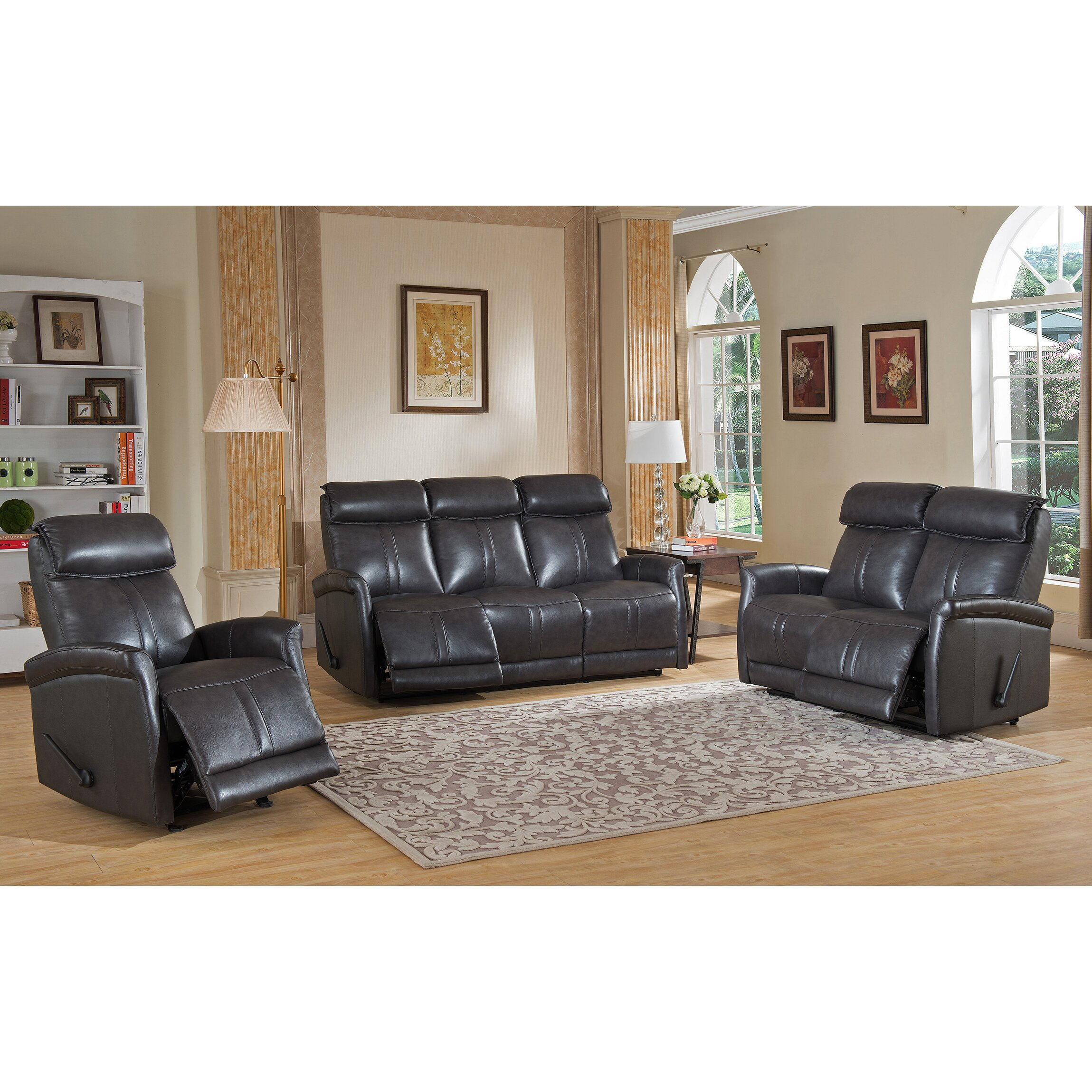 Amax mosby 3 piece leather living room set wayfair for Living room 3 piece sets