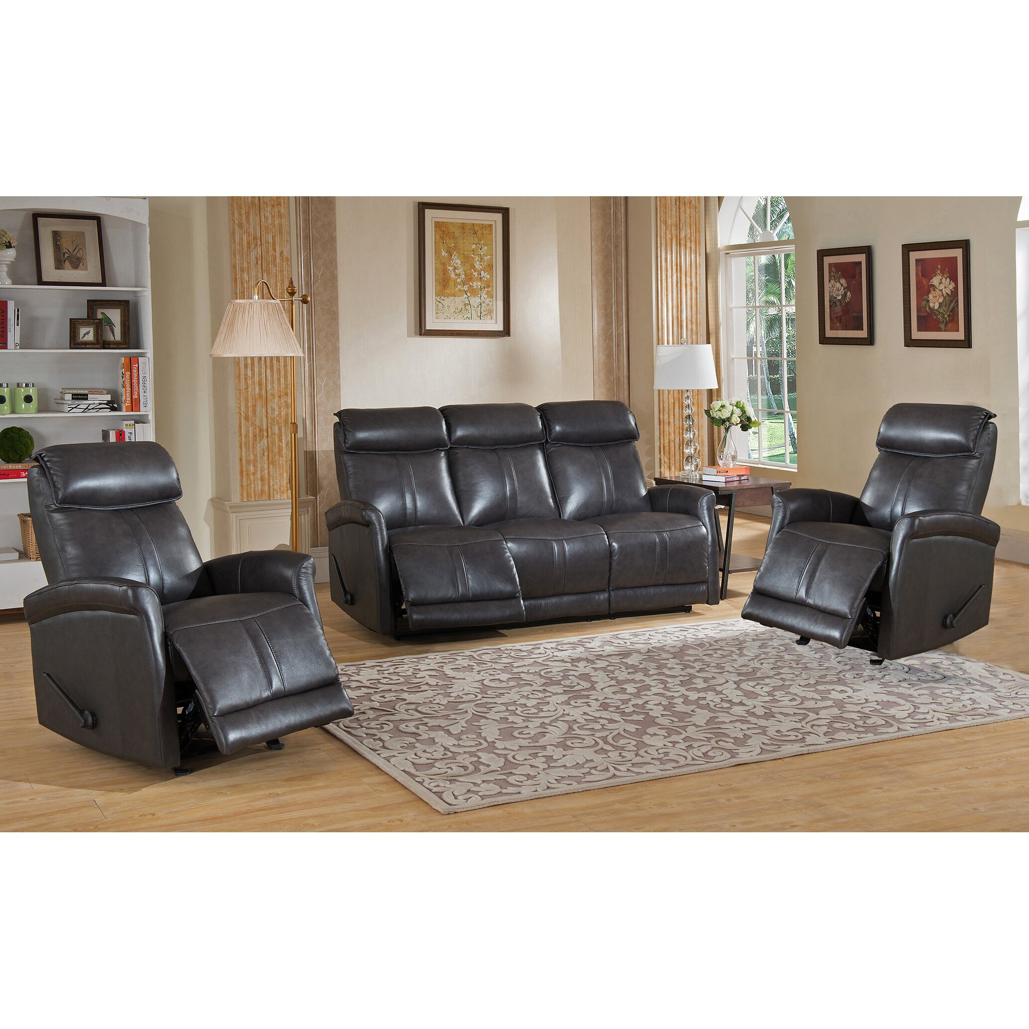 Three piece leather living room set modern house for 3 piece living room set
