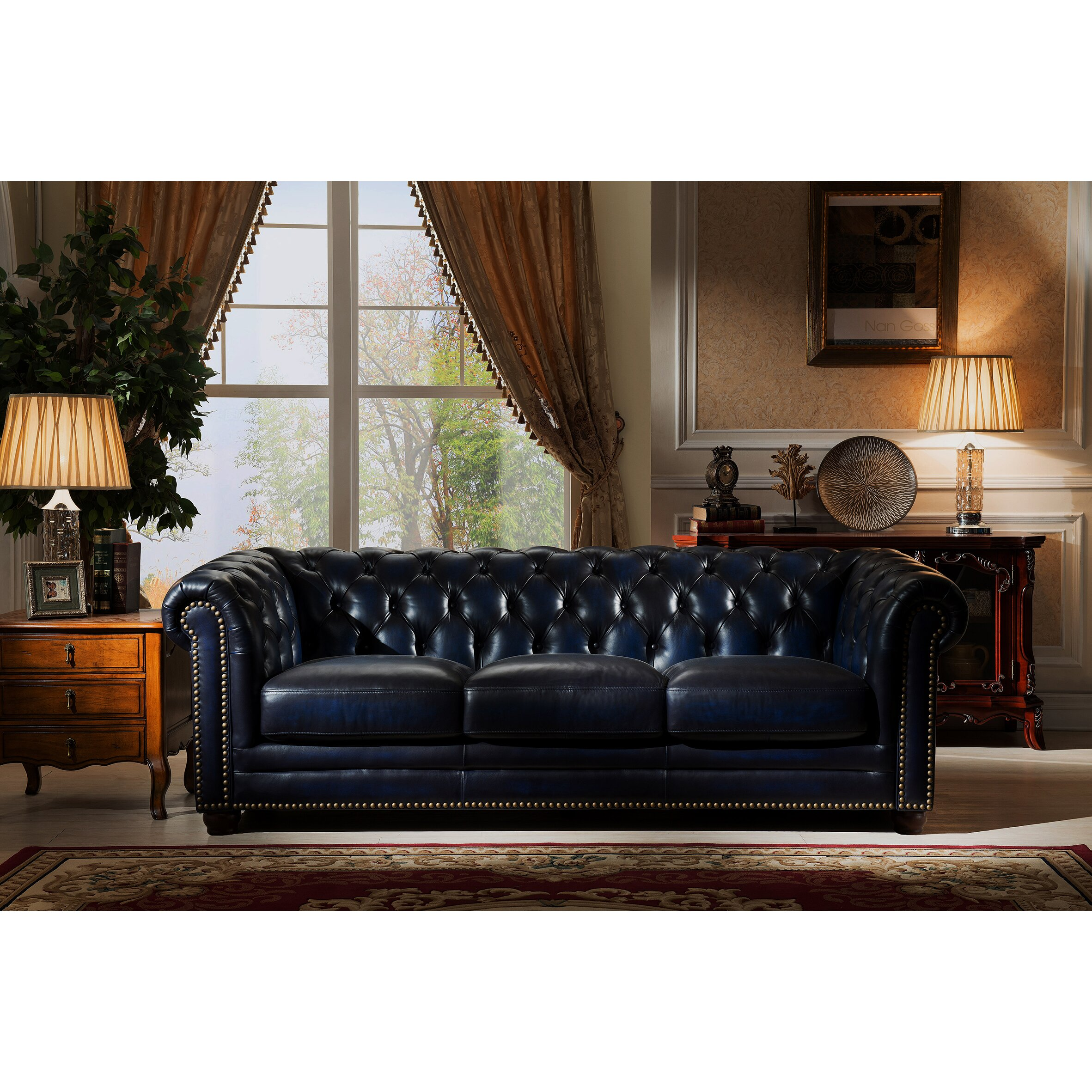 Amax nebraska chesterfield genuine leather sofa loveseat and chair set Bedroom furniture chesterfield