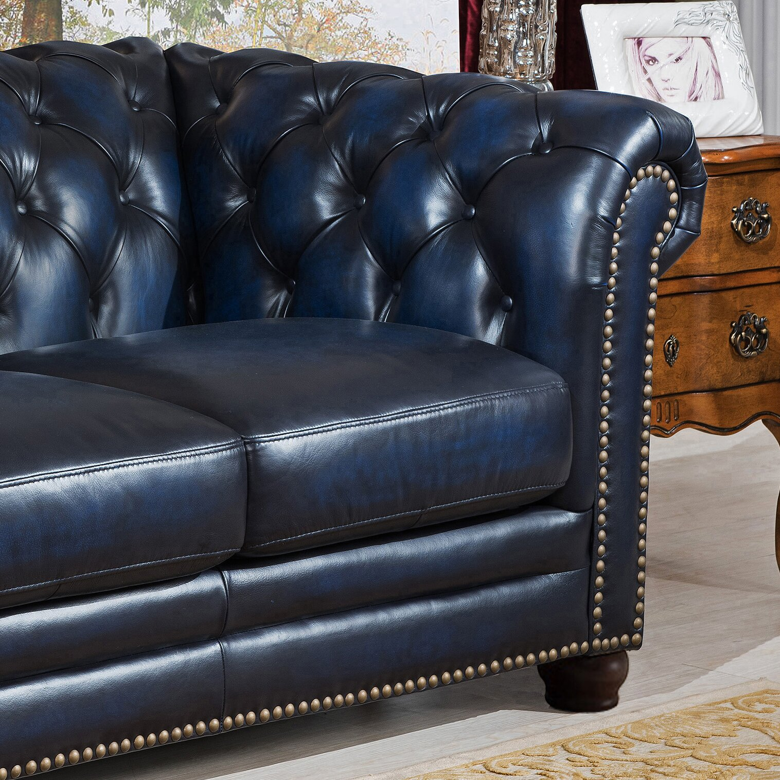 Amax Nebraska Chesterfield Genuine Leather Sofa Loveseat