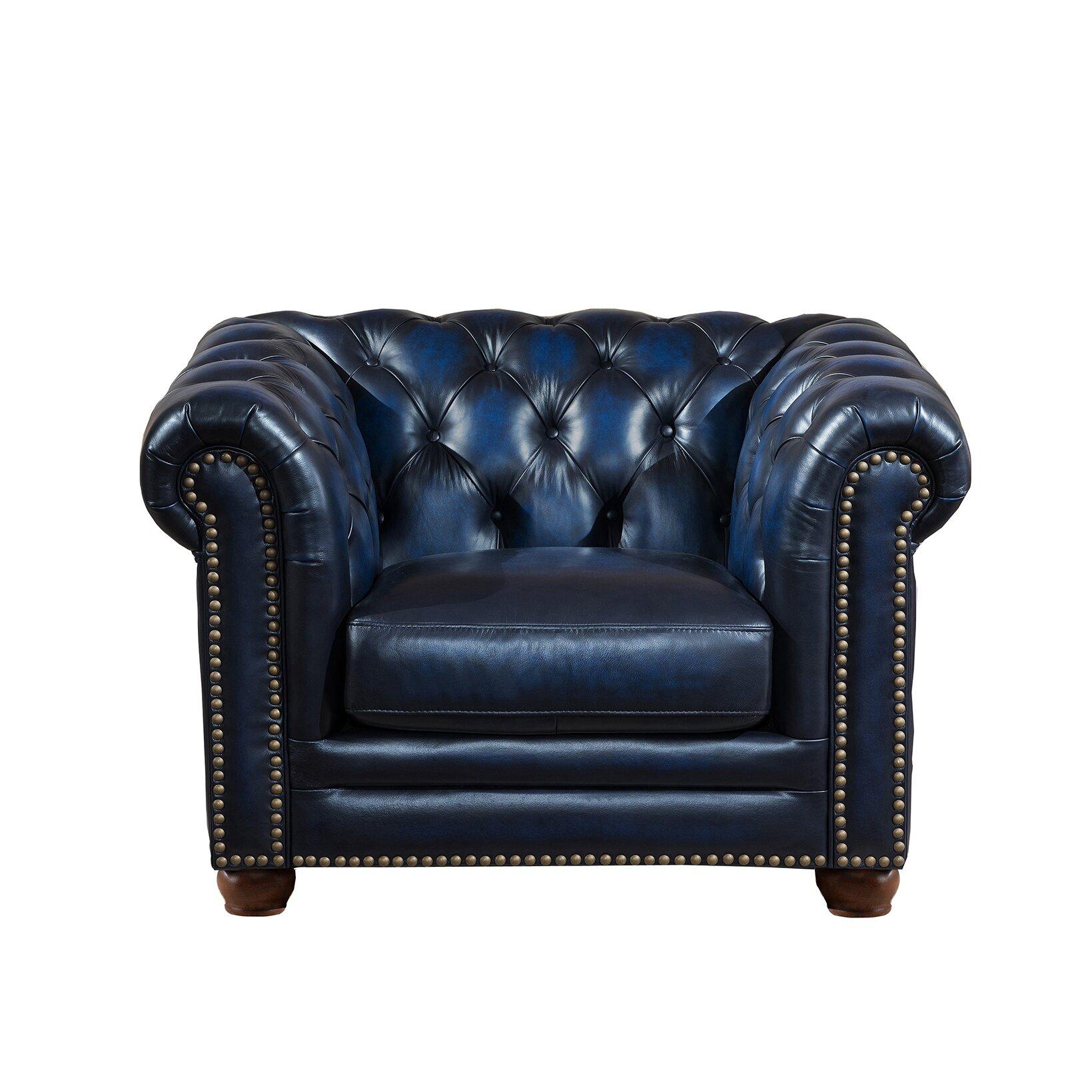 Amax Nebraska Chesterfield Genuine Leather Sofa Loveseat And Chair Set Wayfair