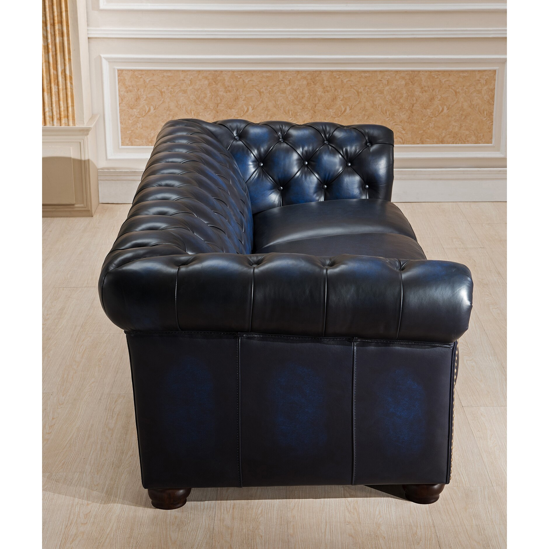 amax nebraska chesterfield genuine leather sofa and. Black Bedroom Furniture Sets. Home Design Ideas