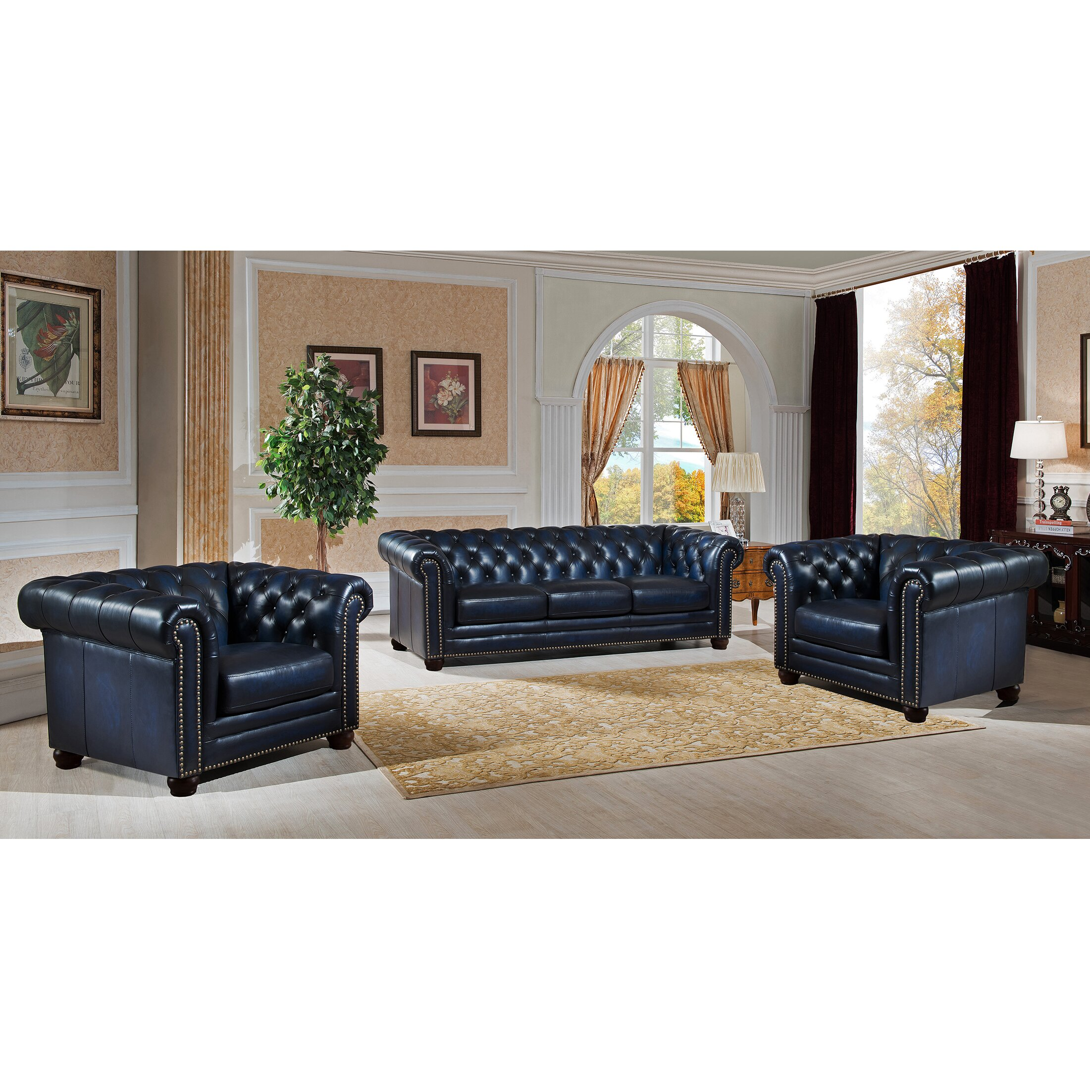 Amax Nebraska Chesterfield Genuine Leather Sofa and Chair