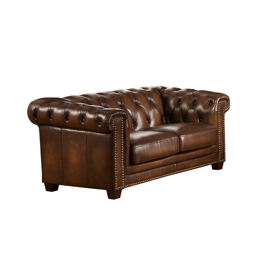 Amax Hickory Chesterfield Genuine Leather Sofa And Loveseat Set Wayfair