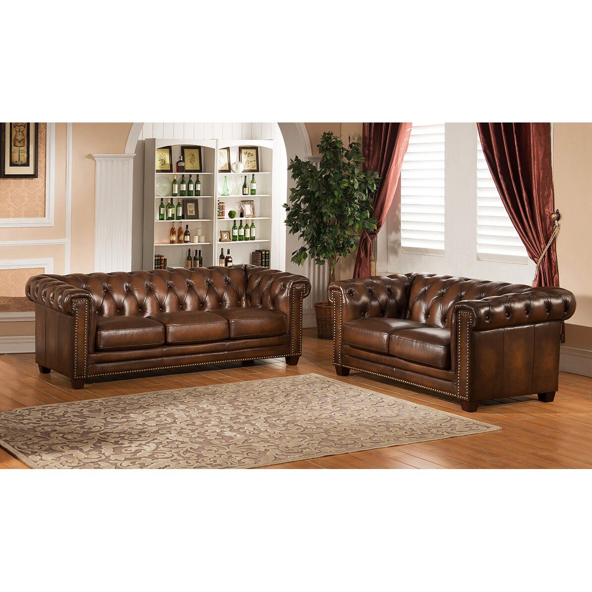 Amax Hickory Chesterfield Genuine Leather Sofa And