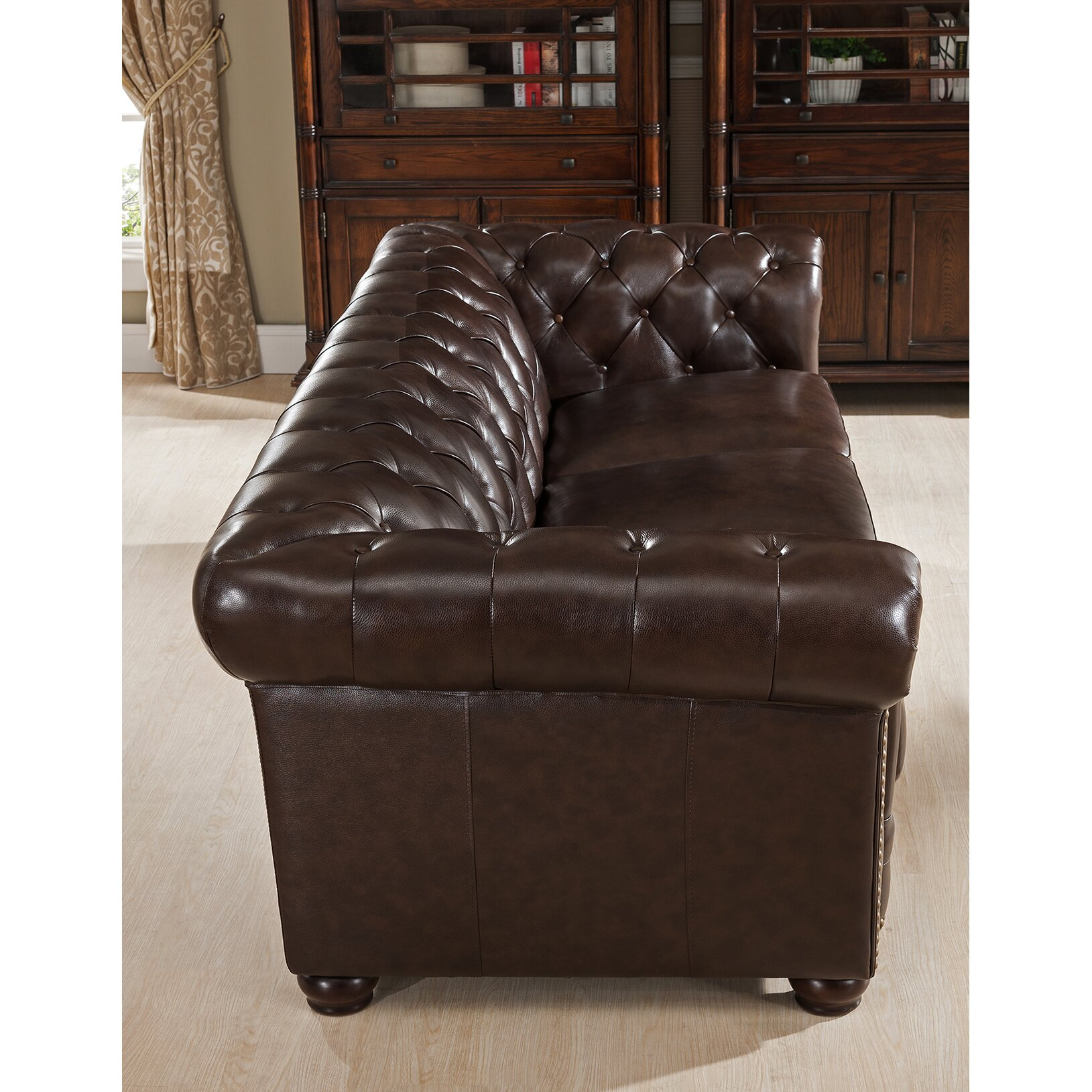 amax kensington top grain leather chesterfield sofa reviews wayfair. Black Bedroom Furniture Sets. Home Design Ideas