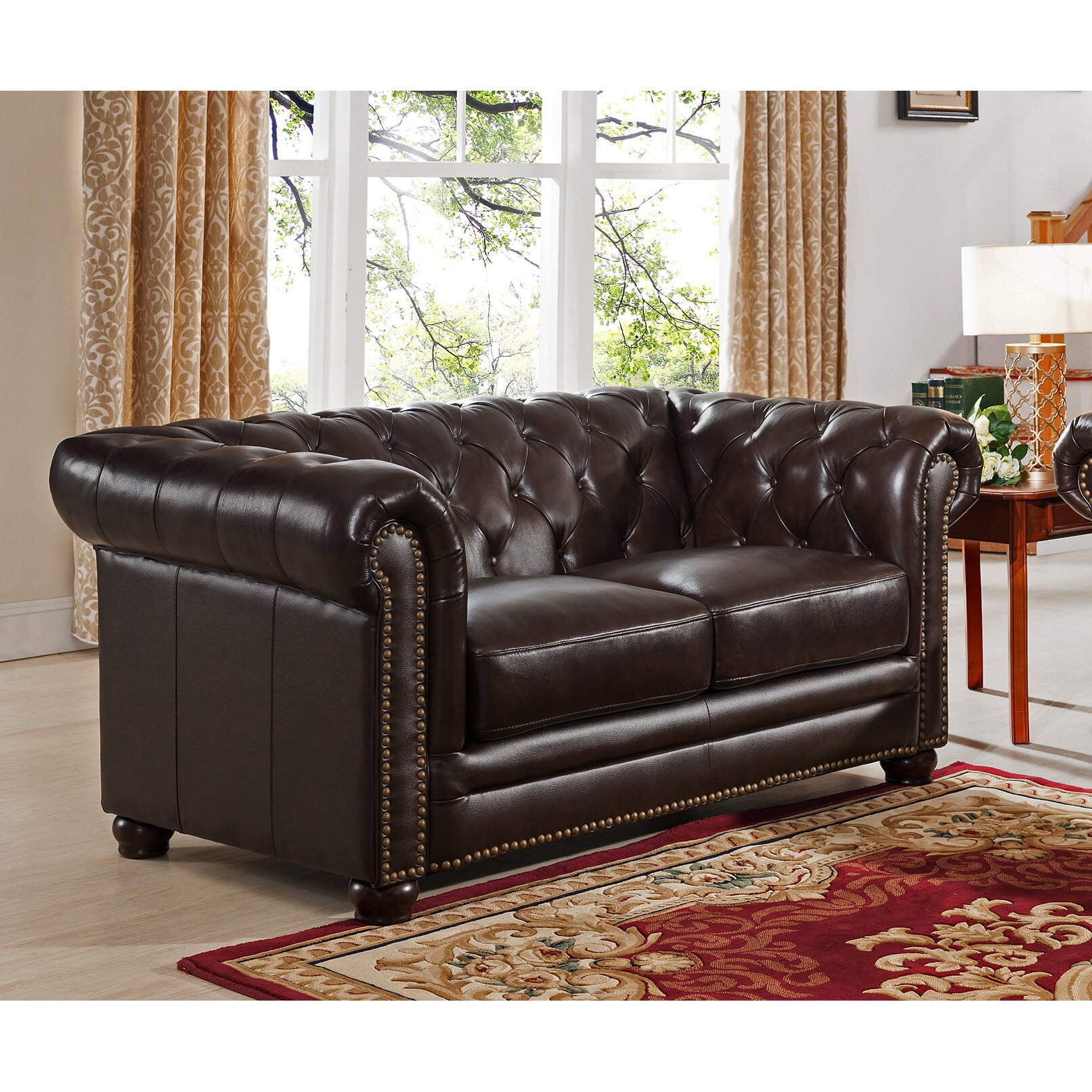 Amax Kensington Top Grain Leather Chesterfield Sofa, Loveseat, and Chair Set Wayfair