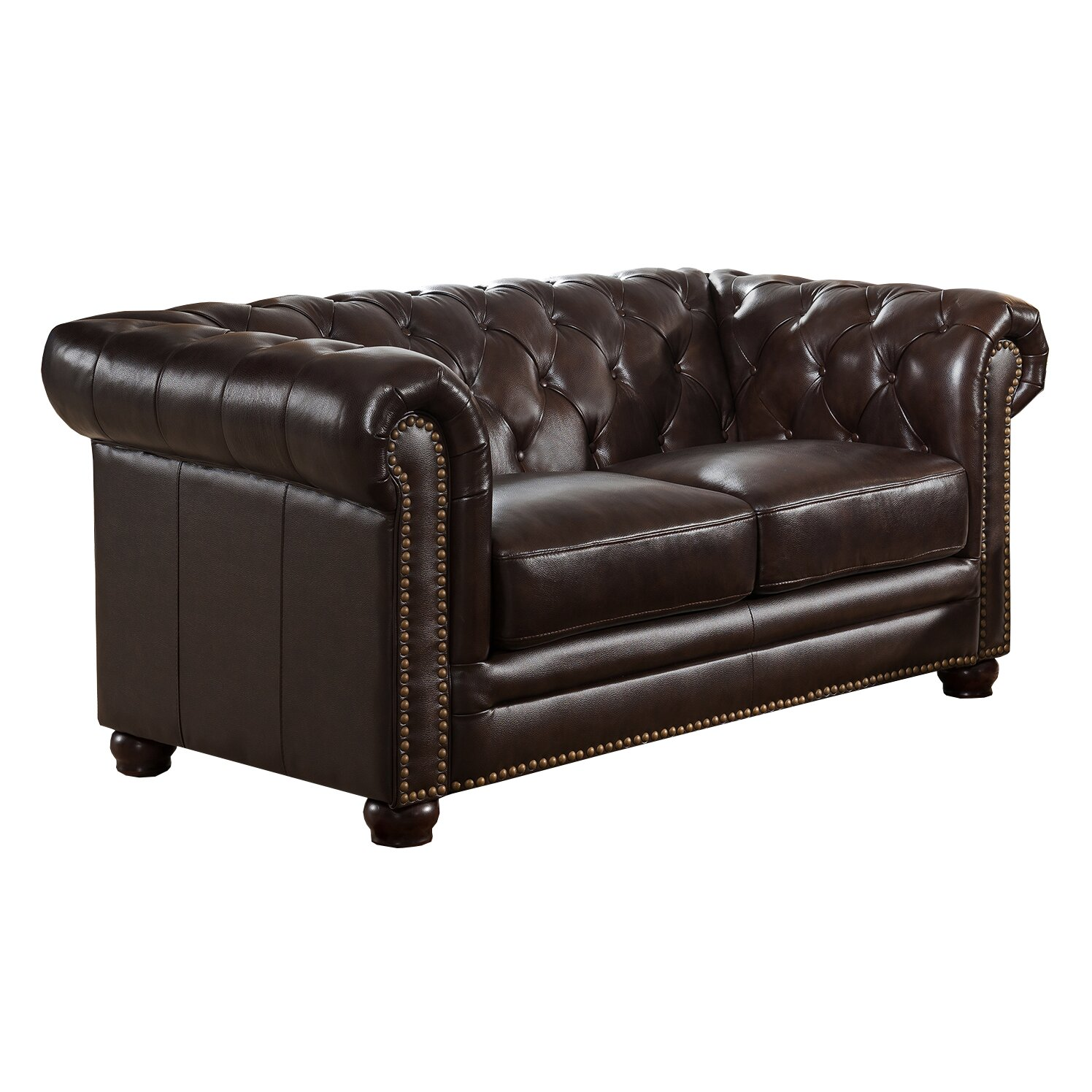 Amax kensington top grain leather chesterfield sofa loveseat and chair set wayfair Leather chesterfield loveseat