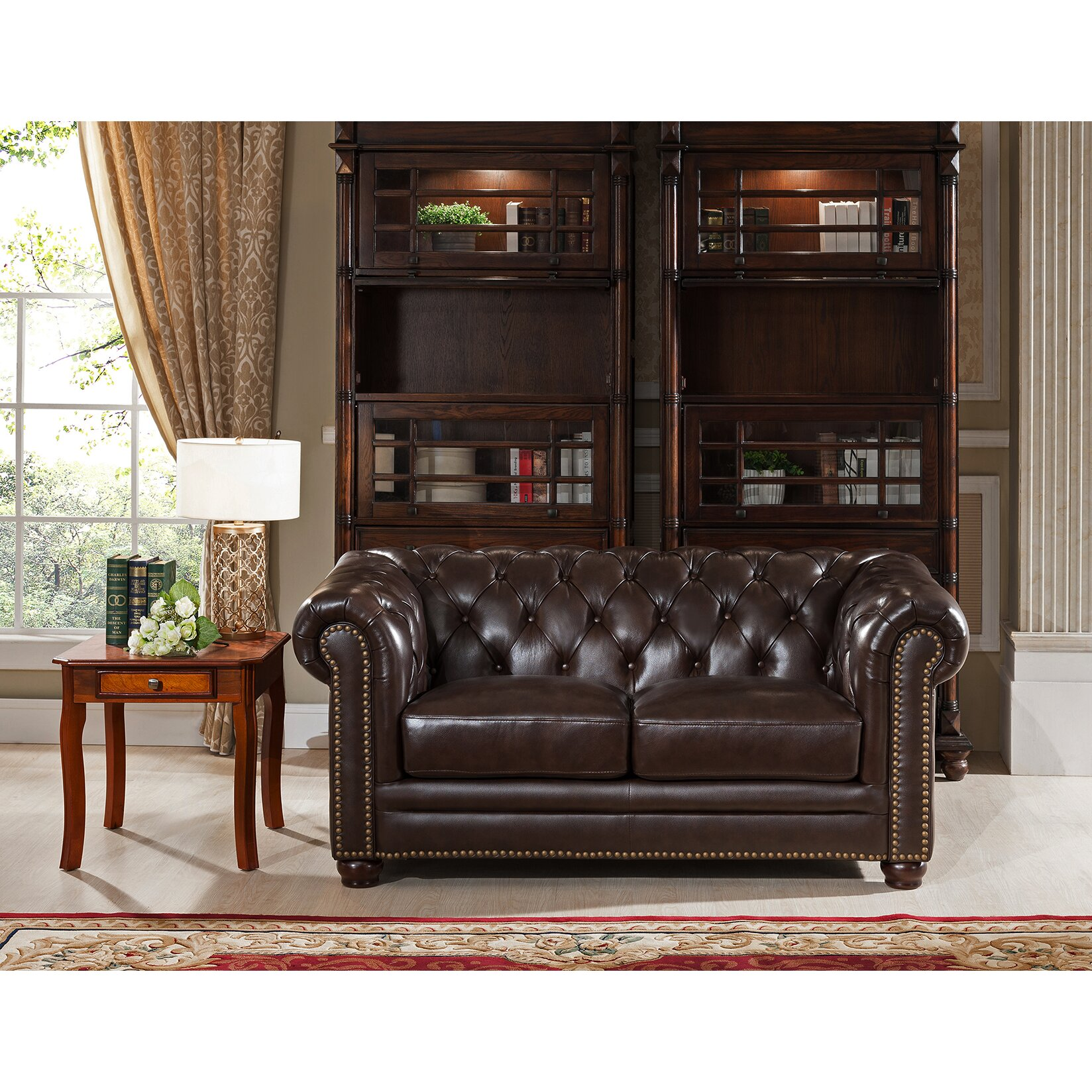 Amax kensington top grain leather chesterfield sofa and loveseat set wayfair Leather chesterfield loveseat