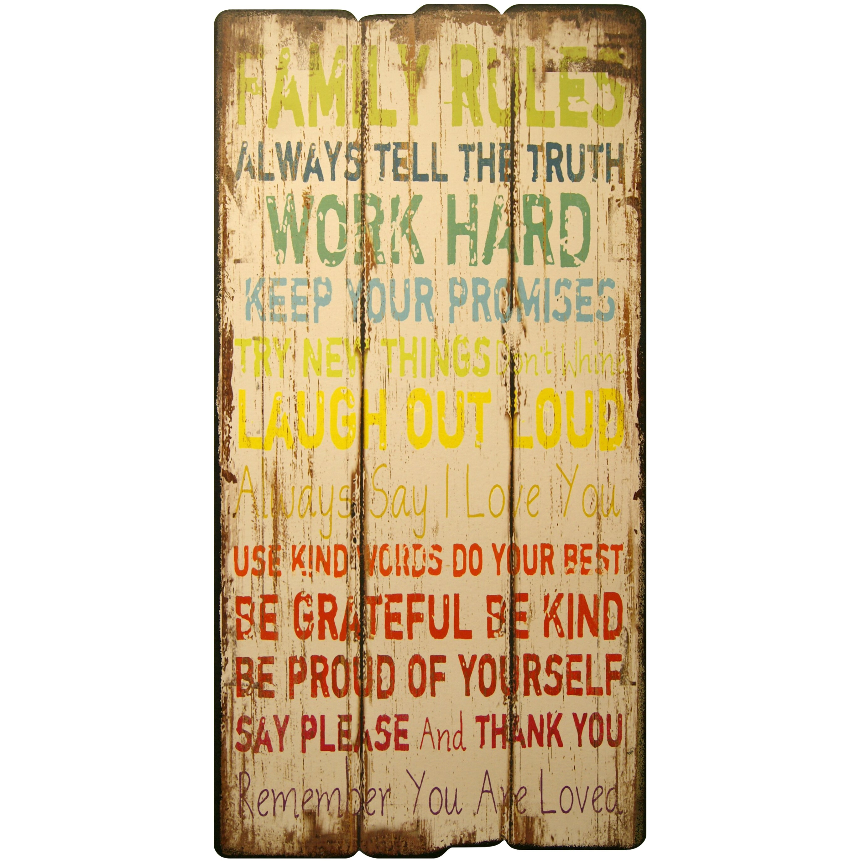 Hdc international decorative plaque family rules wall for International wall decor