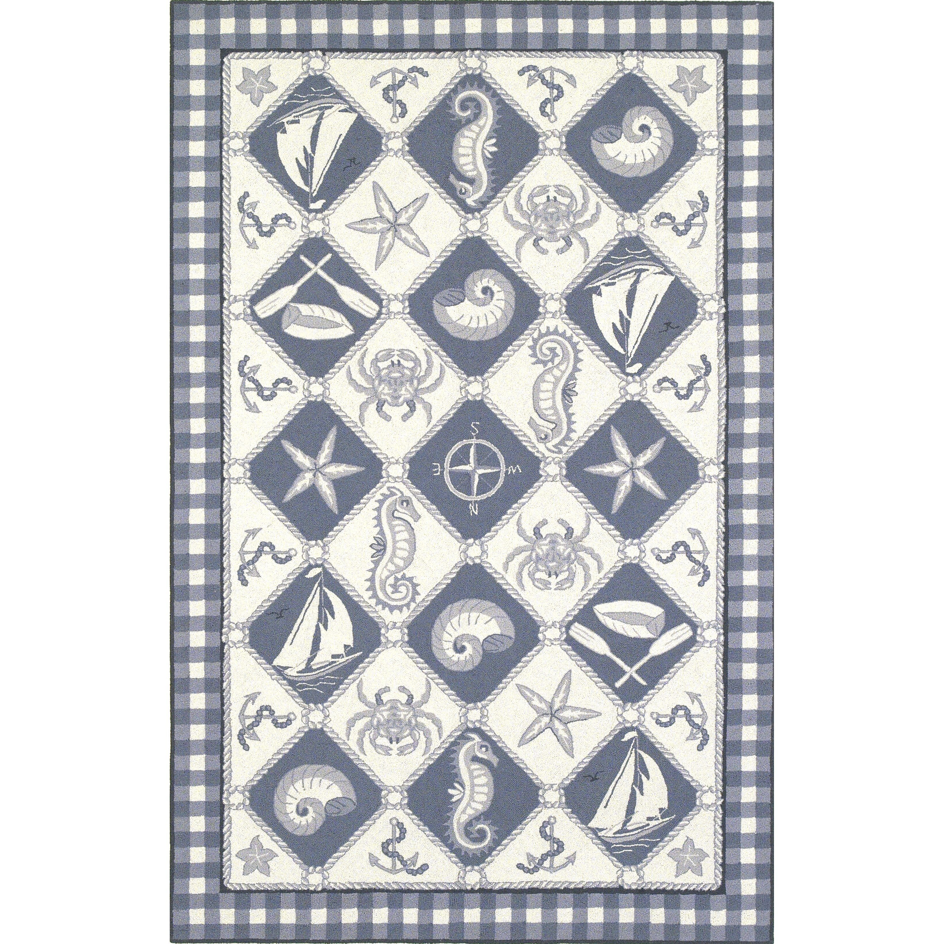 Nautical Blue Rug: KAS Rugs Colonial Blue/Ivory Nautical Novelty Rug