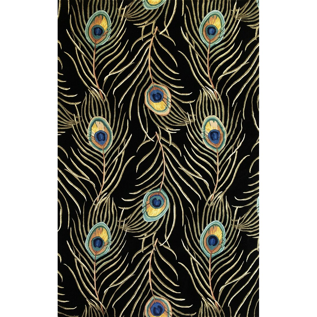 KAS Rugs Catalina Black Peacock Feathers Area Rug