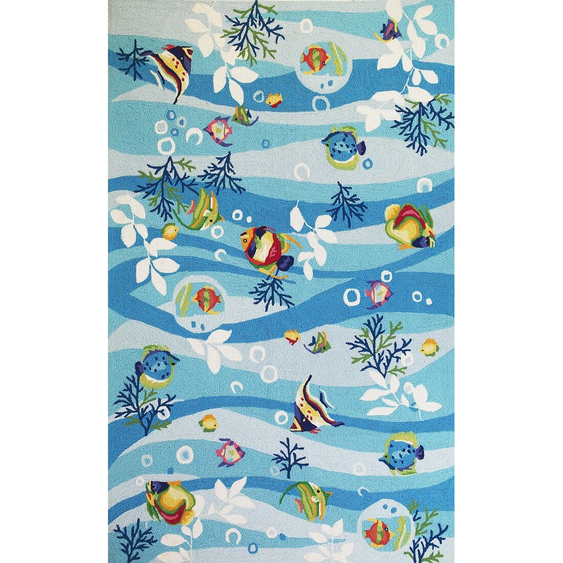 Kas rugs sonesta blue tropical fish area rug reviews for Fish bath rug
