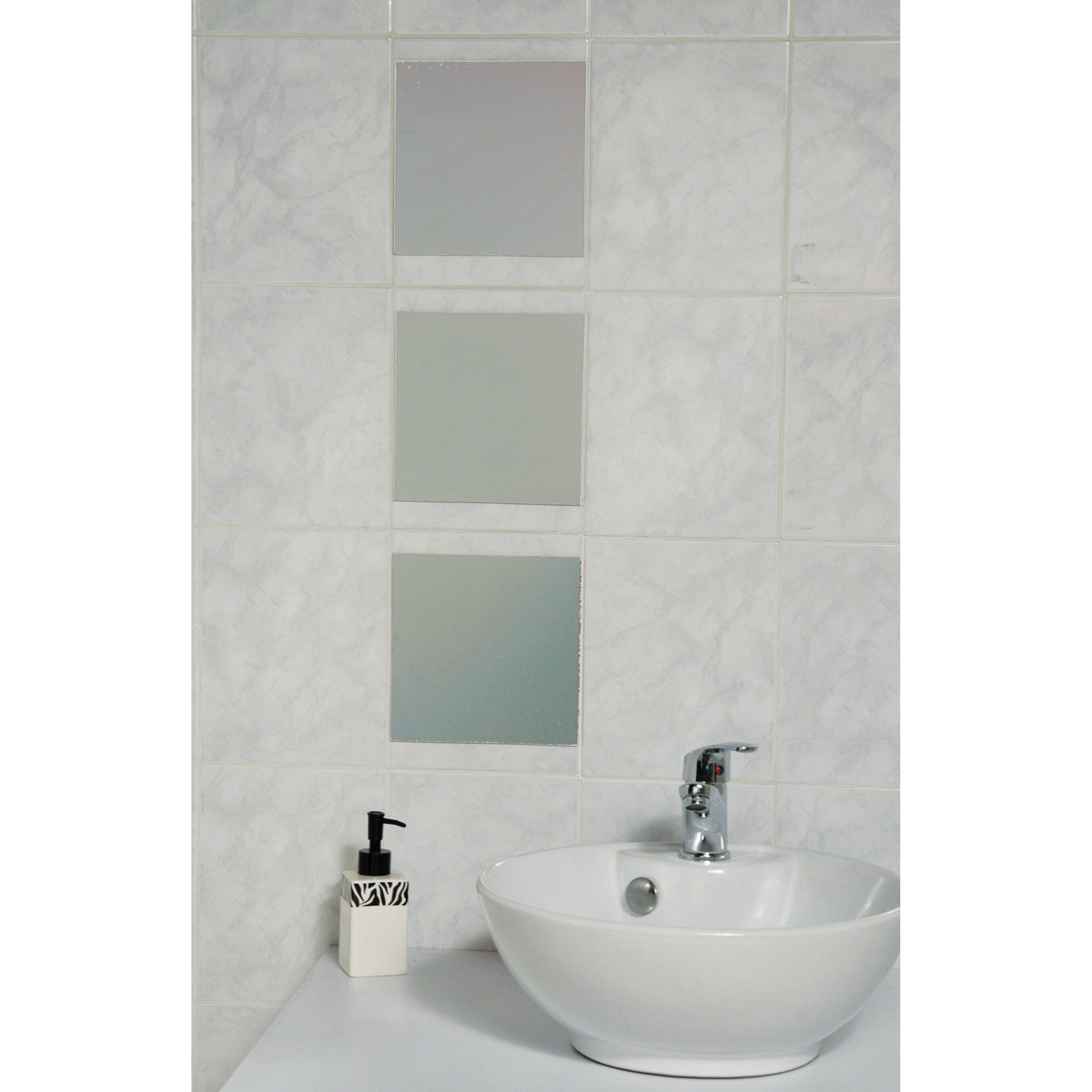 Evideco mirrorfina adhesive square decorative bath wall for Fancy bathroom wall mirrors