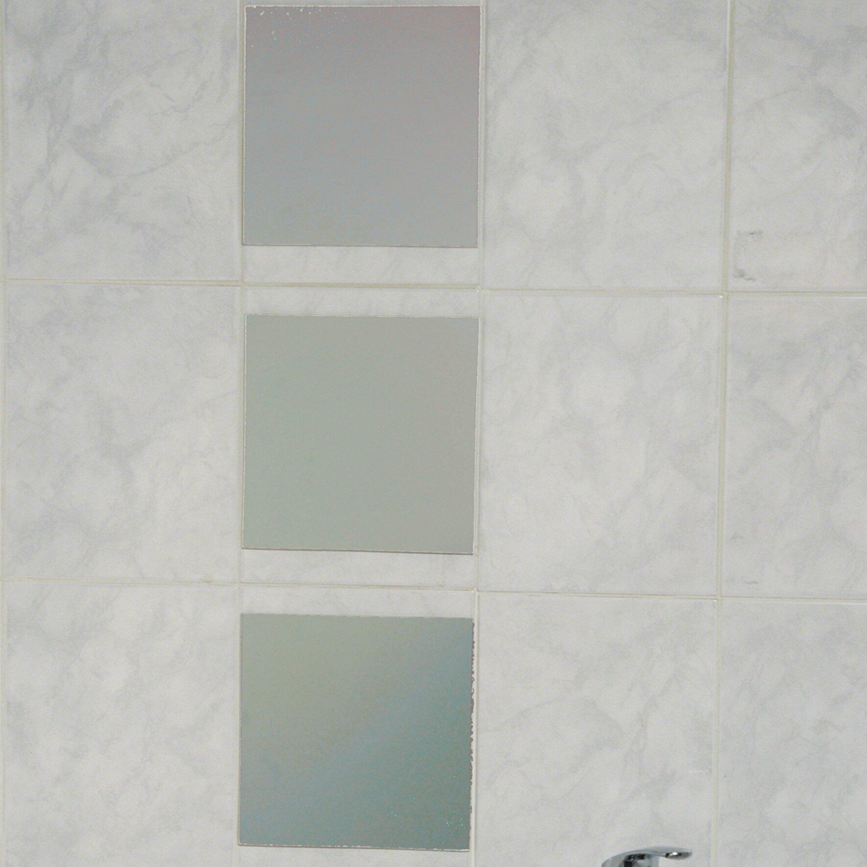 evideco mirrorfina adhesive square decorative bath wall mirror reviews wayfair. Black Bedroom Furniture Sets. Home Design Ideas