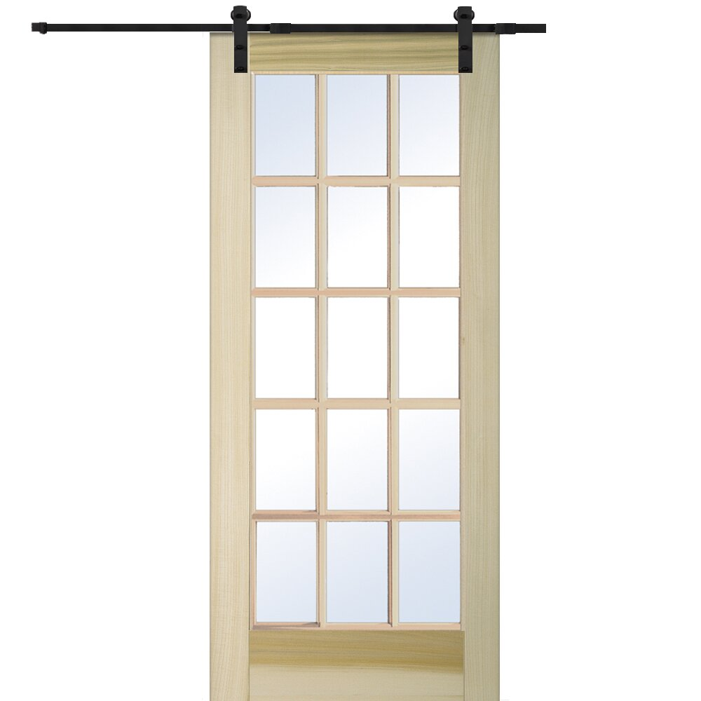 Verona home design wood natural interior barn door for Natural wood doors interior