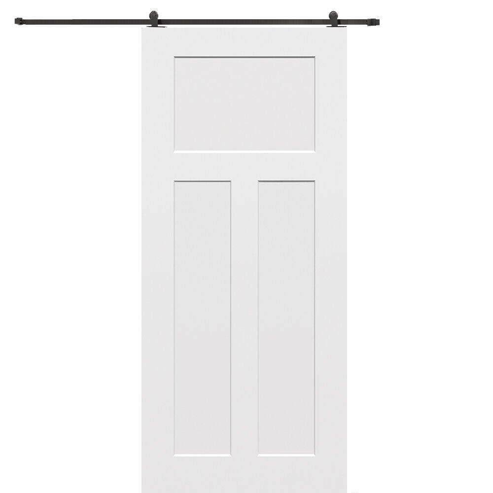 Verona Home Design Craftsman Mdf 3 Panel Interior Barn Door