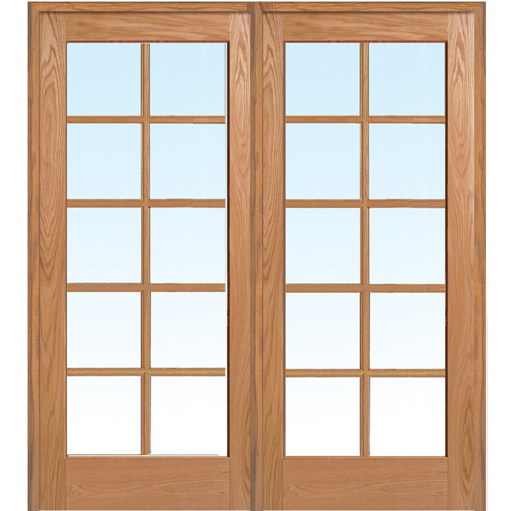 Verona home design wood 2 panel red oak interior french for Interior french doors home hardware