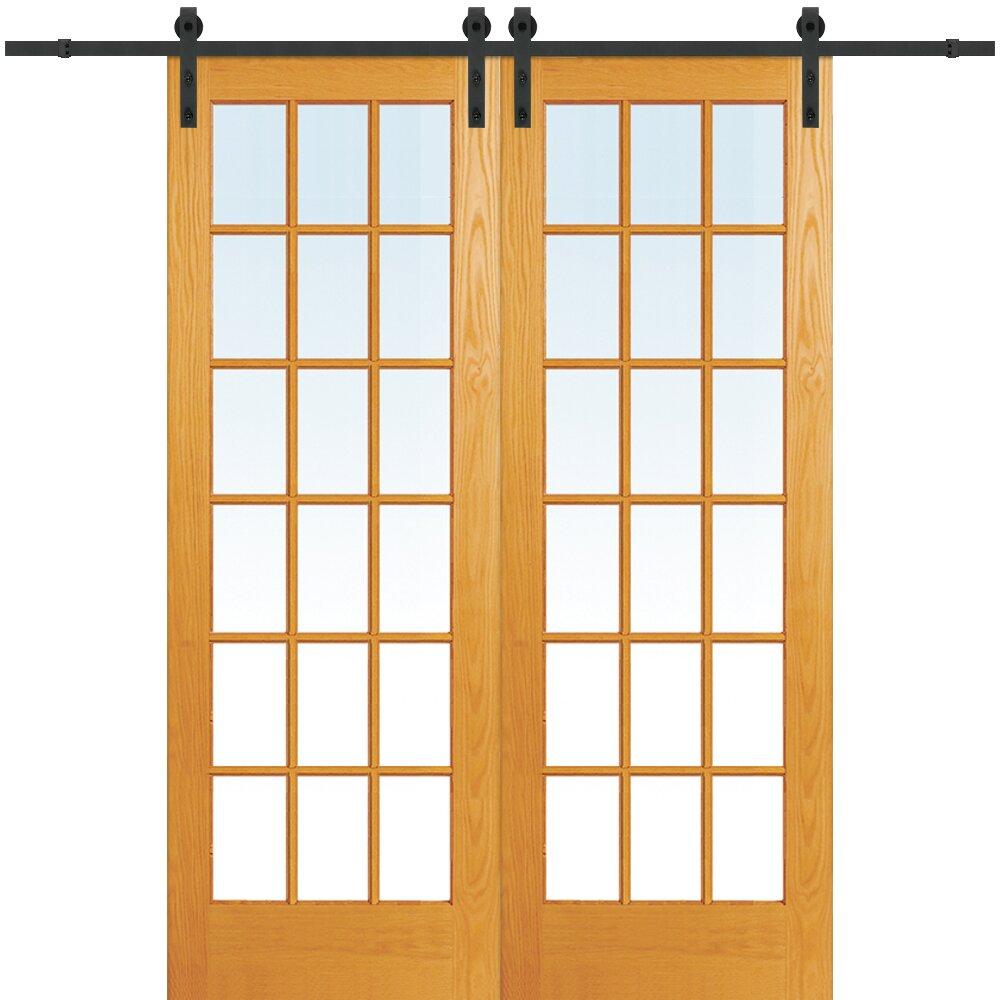 Verona Home Design Wood 2-Panel Natural Interior Barn Door
