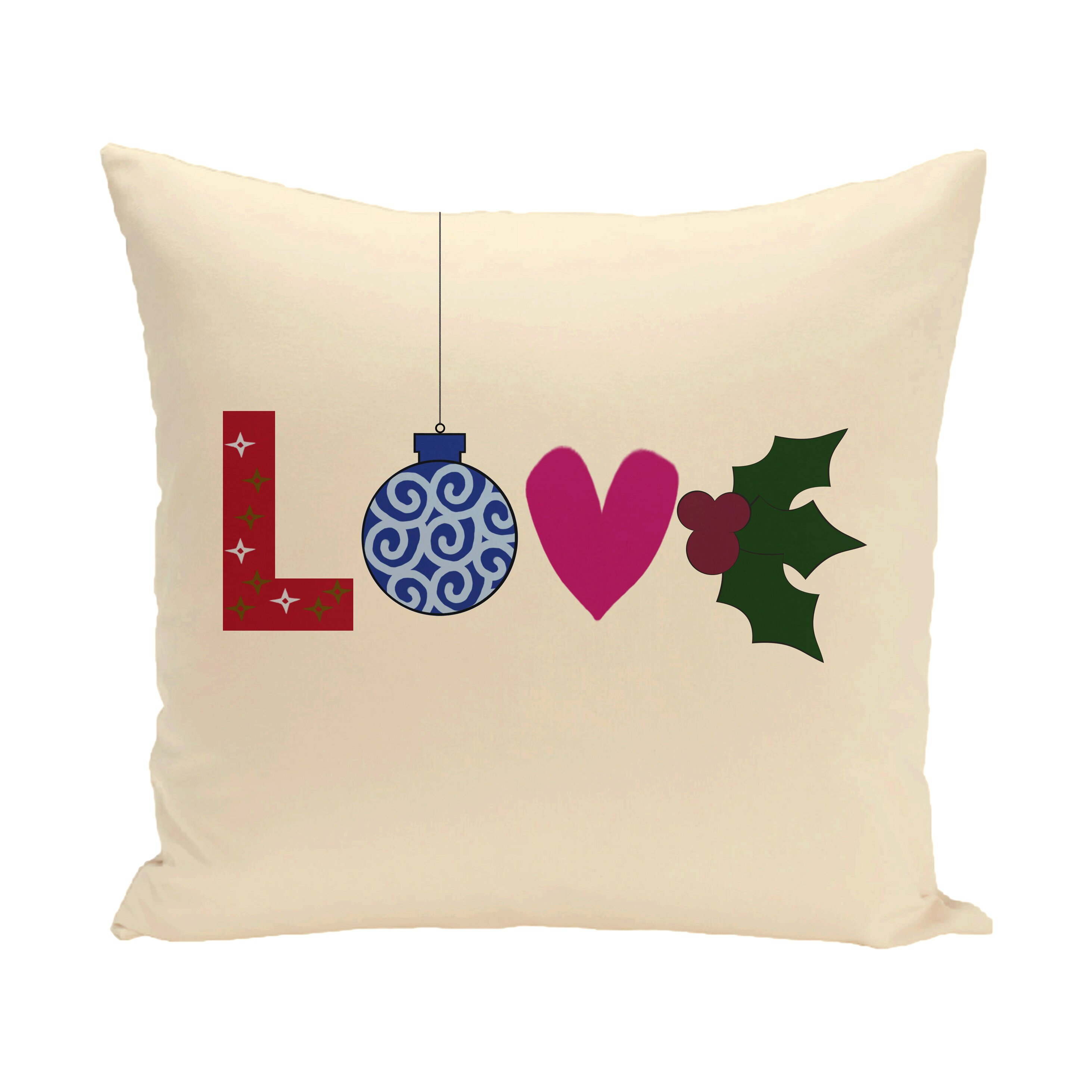 Decorative Throw Pillows With Words : The Holiday Aisle Love Decorative Holiday Word Print Polyester Throw Pillow & Reviews Wayfair