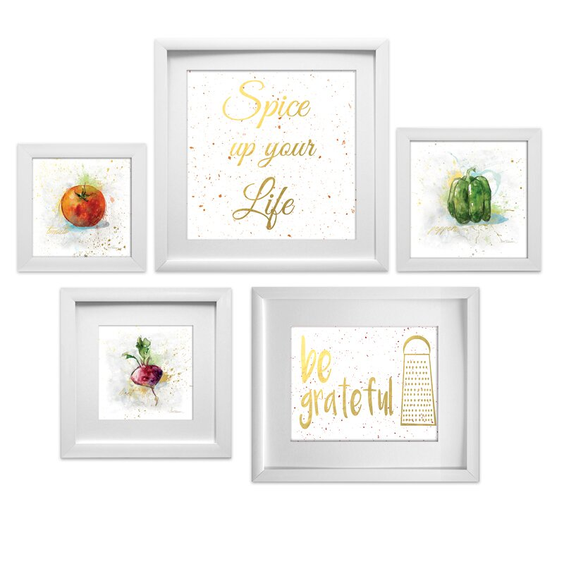 Star creations kitchen collage 5 piece framed graphic for Kitchen framed wall art