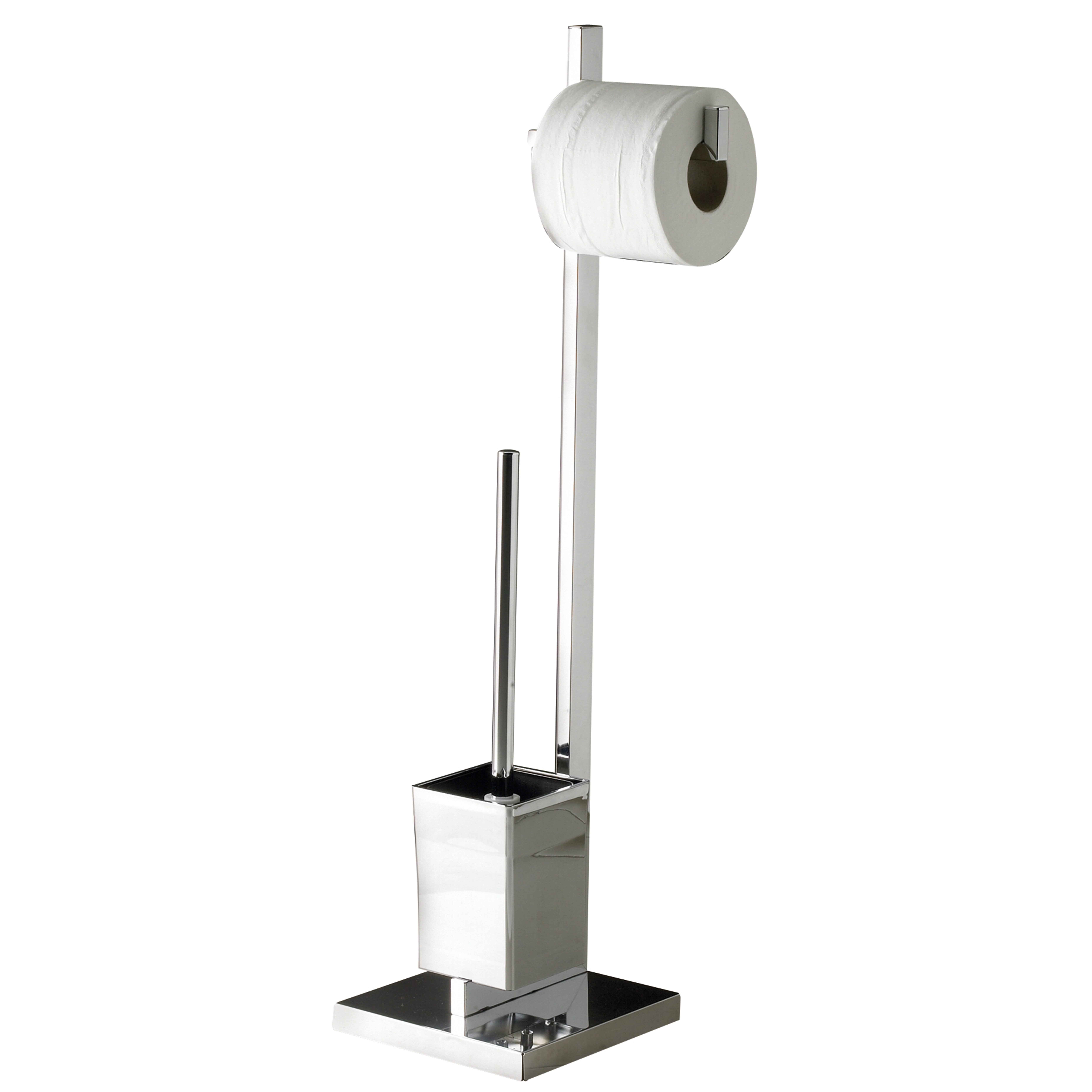 Belfry free standing toilet roll and brush holder Glass toilet roll holder