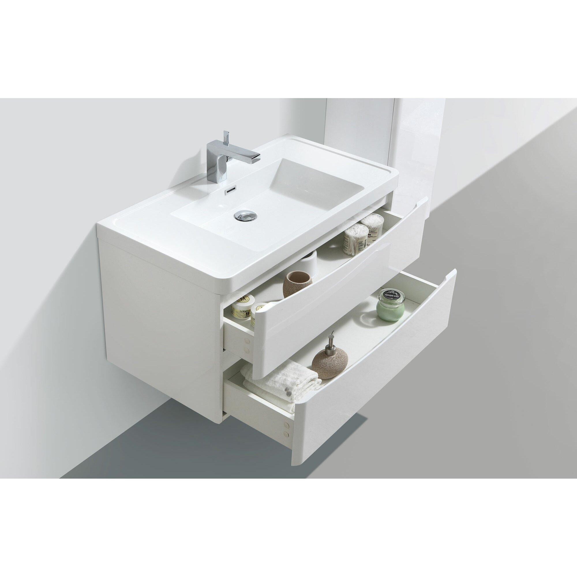 Belfry mensa 90cm wall mounted vanity unit with storage - Wall mounted bathroom storage units ...
