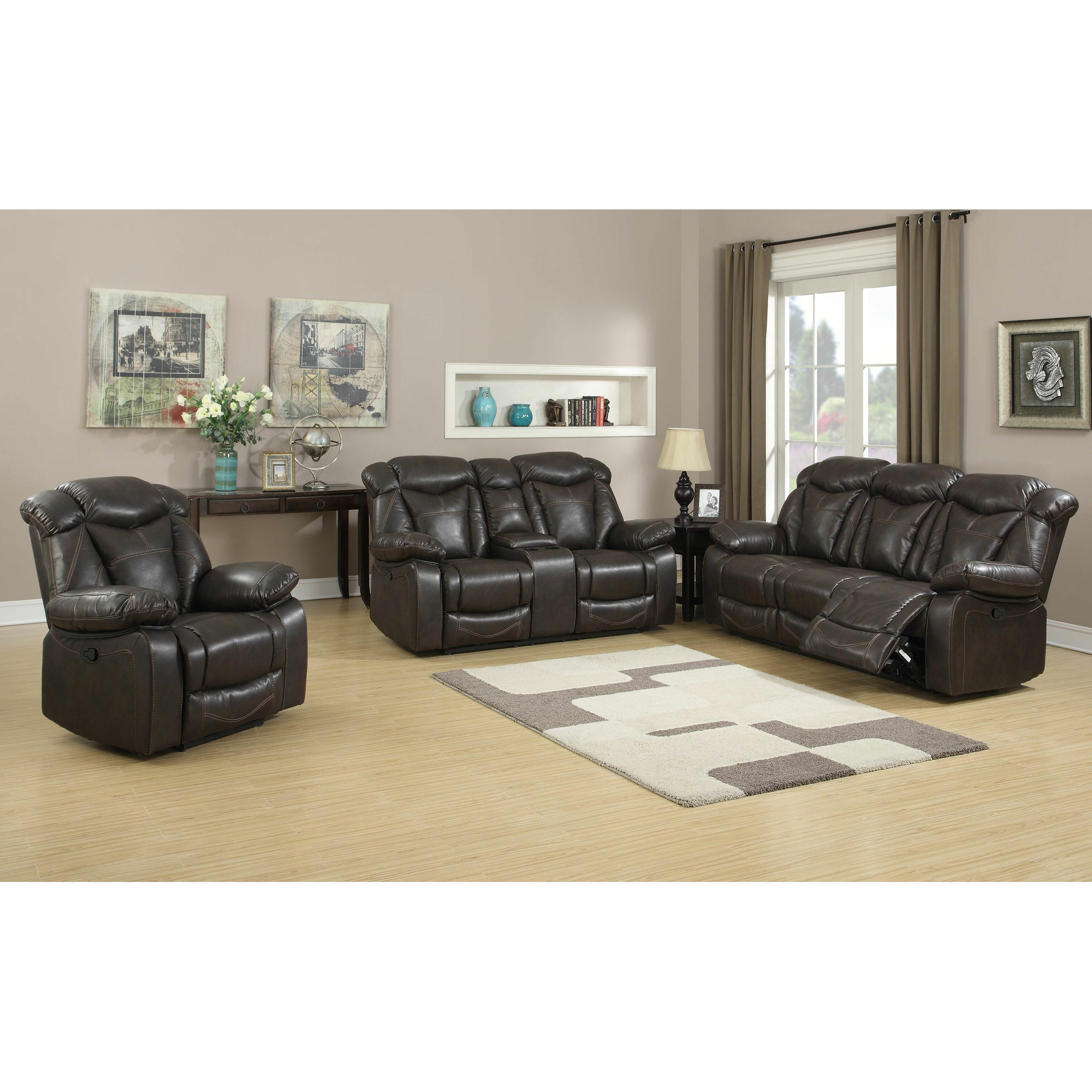 Living in style madison 3 piece leather living room set for Three piece living room set