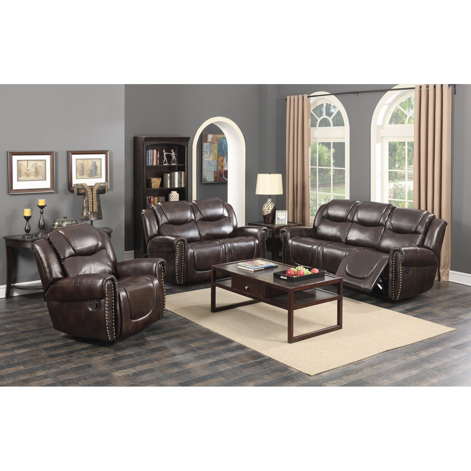 Living Room Sets Reclining: Living In Style Castrol Living Room Reclining Sofa