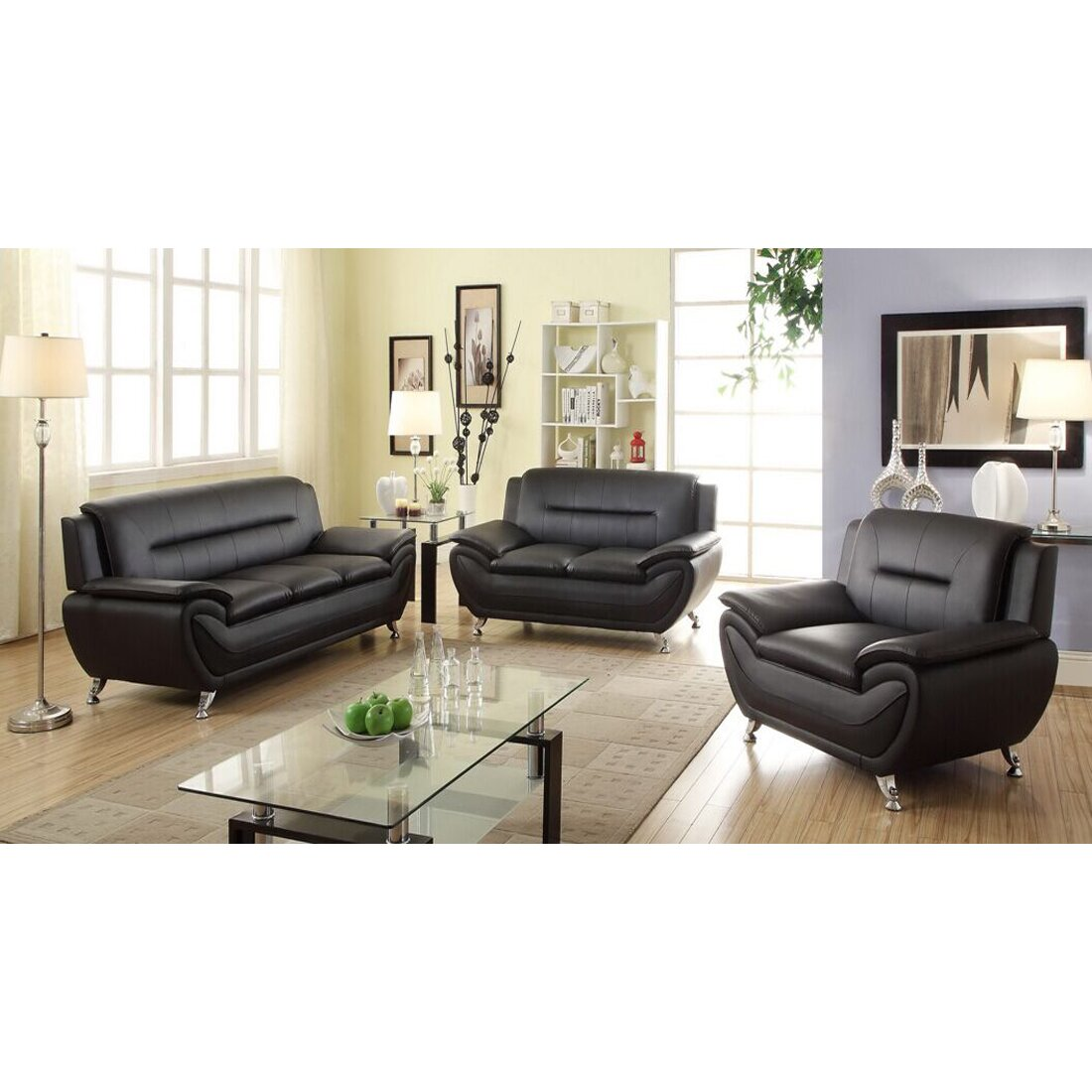 Living in style sophie living room loveseat reviews for Black leather living room set