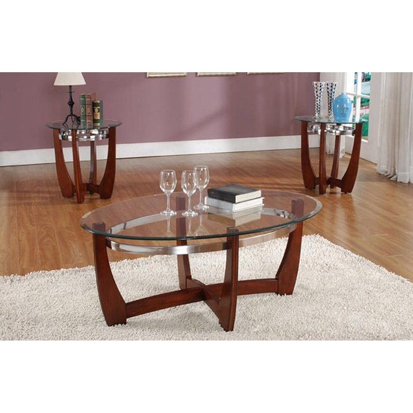 Living in style cheryl 3 piece coffee table set reviews for Wayfair glass top coffee table