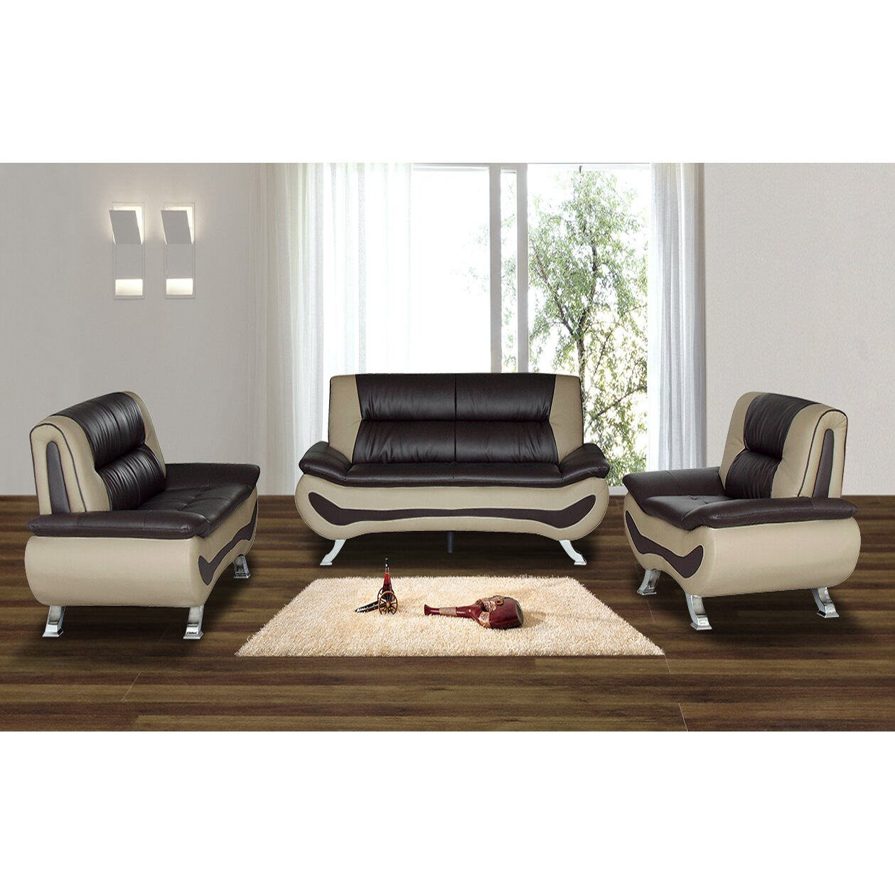 Living in style austin 3 piece living room set reviews for Contemporary living room furniture sets