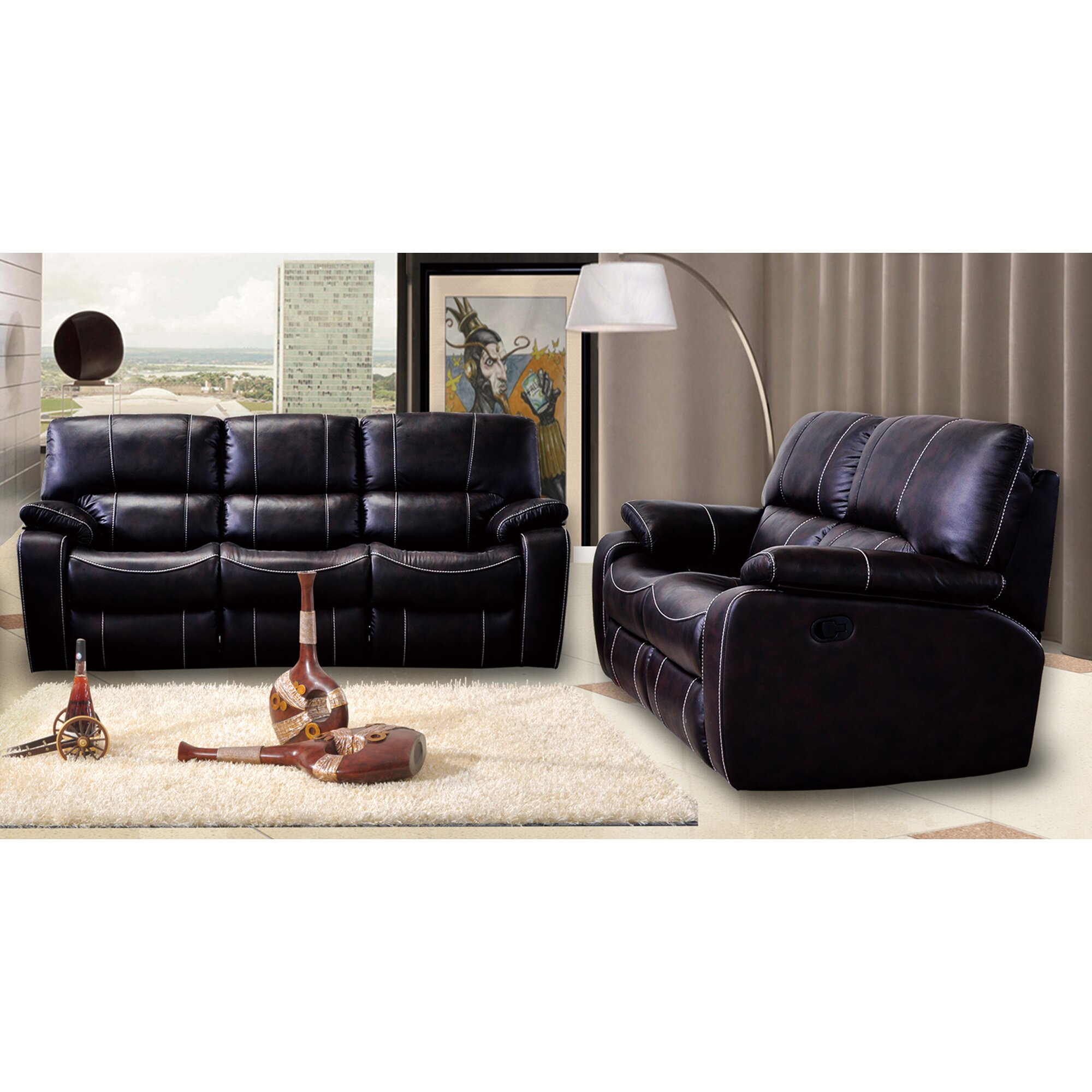 Living in style orleans 2 piece bonded leather living room set wayfair 2 piece leather living room set