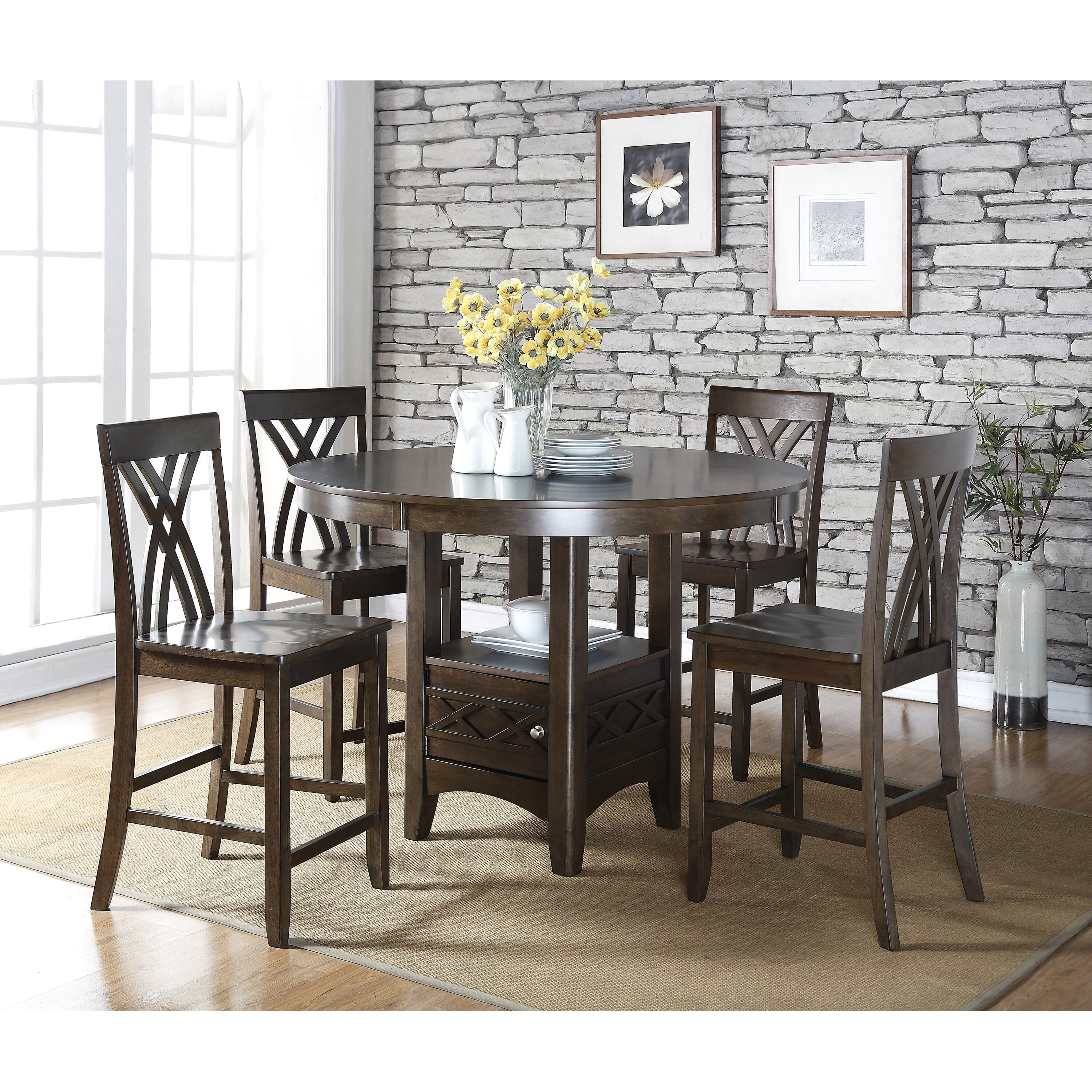 Living In Style Ashley 5 Piece Counter Height Dining Table Set Reviews