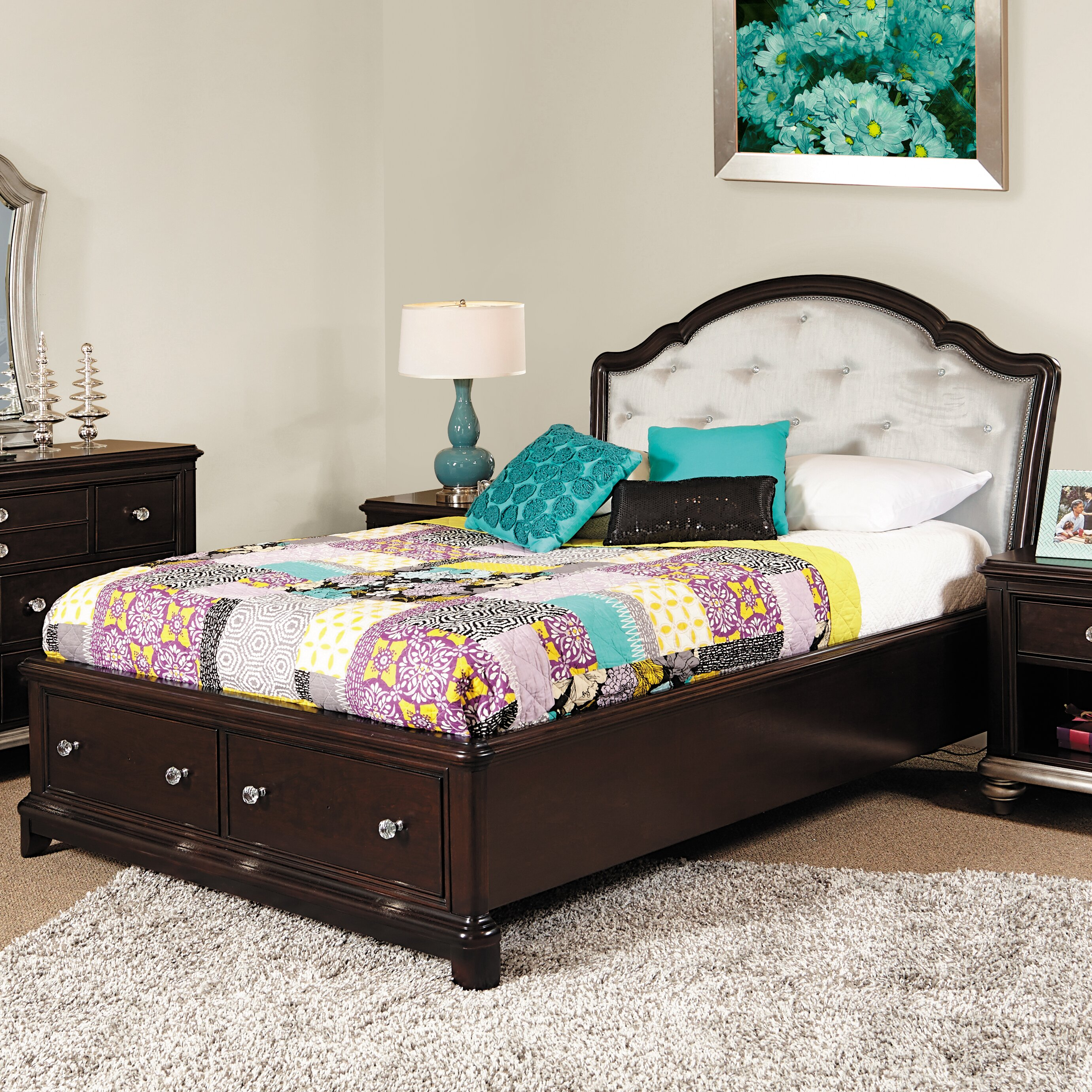 Glam Bedroom Design Photo By Wayfair: Samuel Lawrence Girls' Glam Panel Bed With Storage