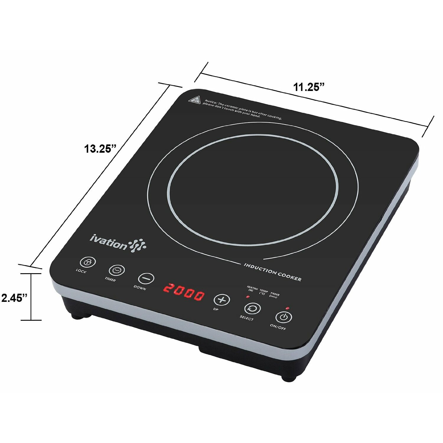 ivation 12 6 electric induction cooktop with 1 burner reviews. Black Bedroom Furniture Sets. Home Design Ideas