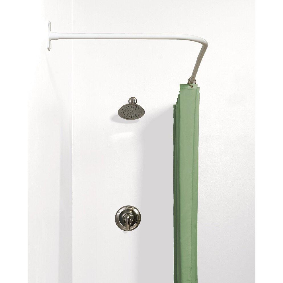 versalot never rust 66 l shaped fixed shower curtain rod reviews wayfair. Black Bedroom Furniture Sets. Home Design Ideas