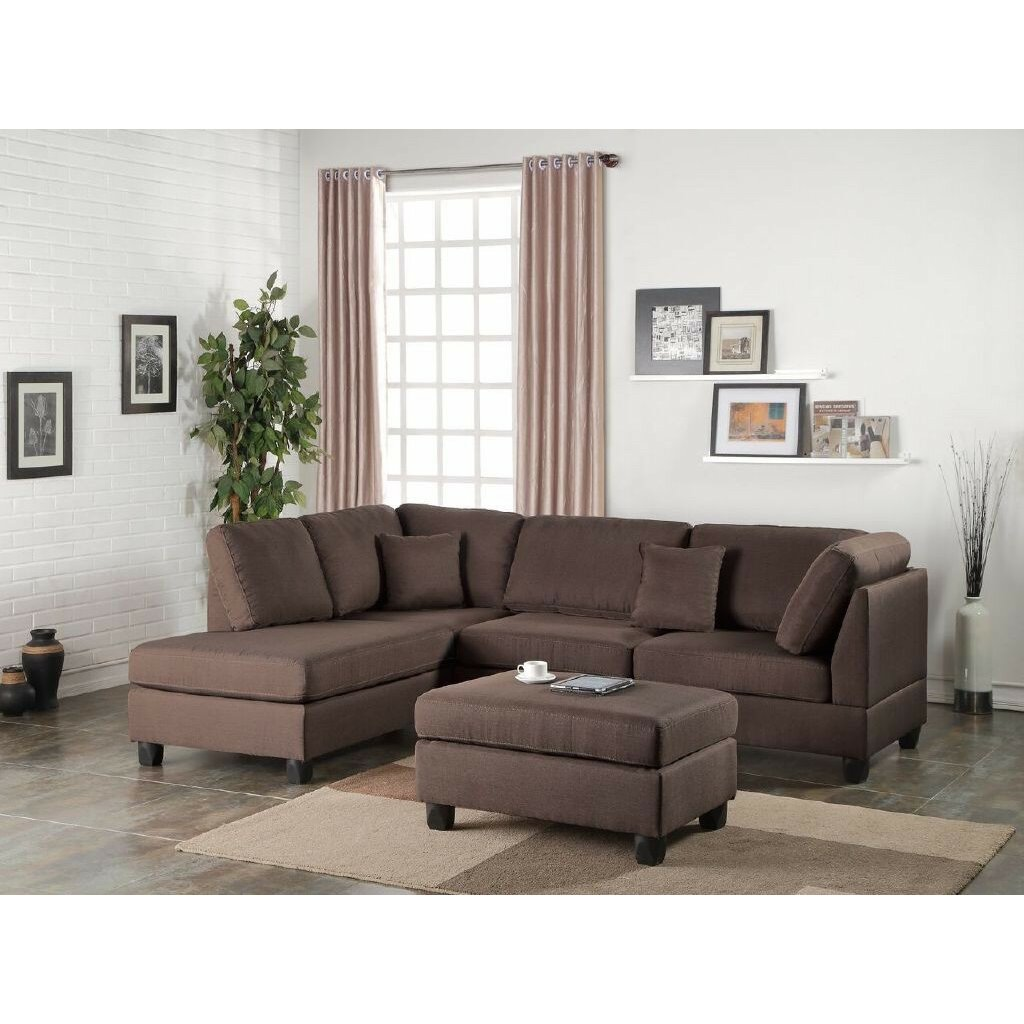Infini furnishings reversible chaise sectional reviews for Mancini modern sectional sofa and ottoman set