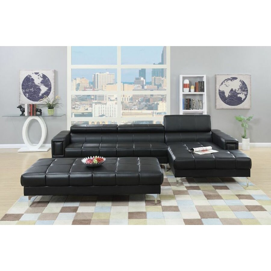 Infini furnishings sectional and ottoman set reviews for Aspen sectional leather sofa with ottoman reviews