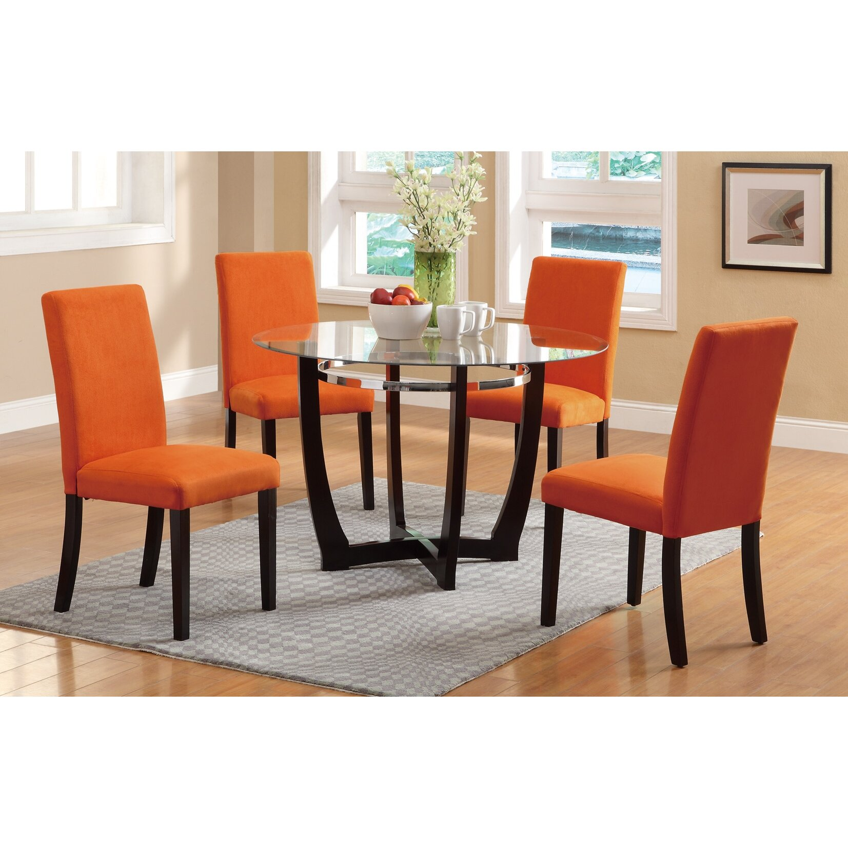 Infini furnishings 5 piece dining set reviews wayfair for Kitchen set orange