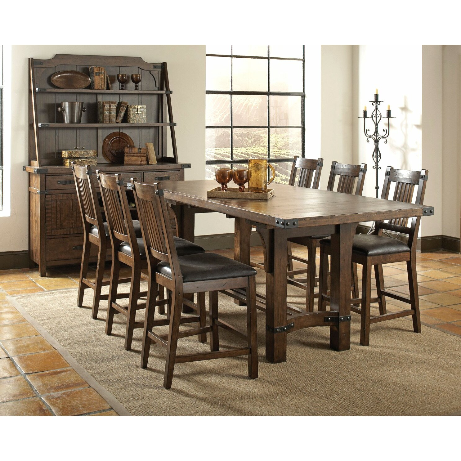 Infini furnishings 7 piece counter height dining set for Counter height dining set