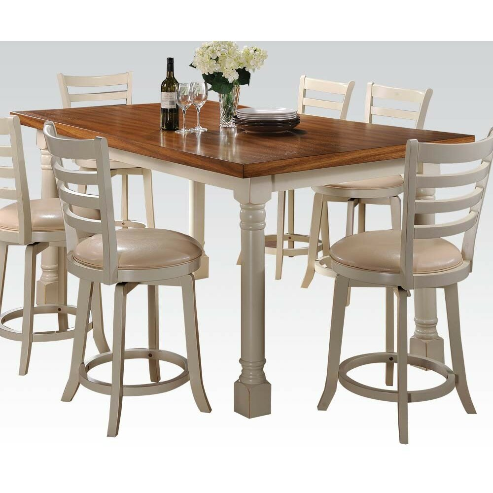 Hokku designs nappa 7 piece counter height dining set amp for Counter height dining set
