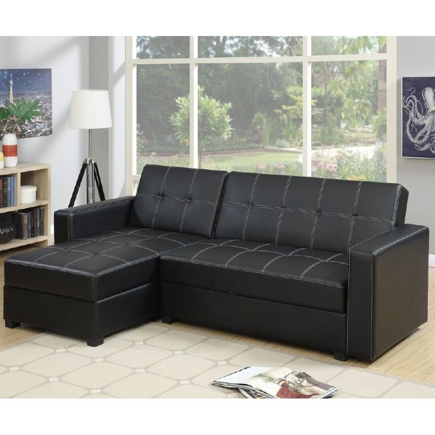 Infini furnishings sleeper sectional reviews wayfair for Adjustable sectional sofa bed with storage