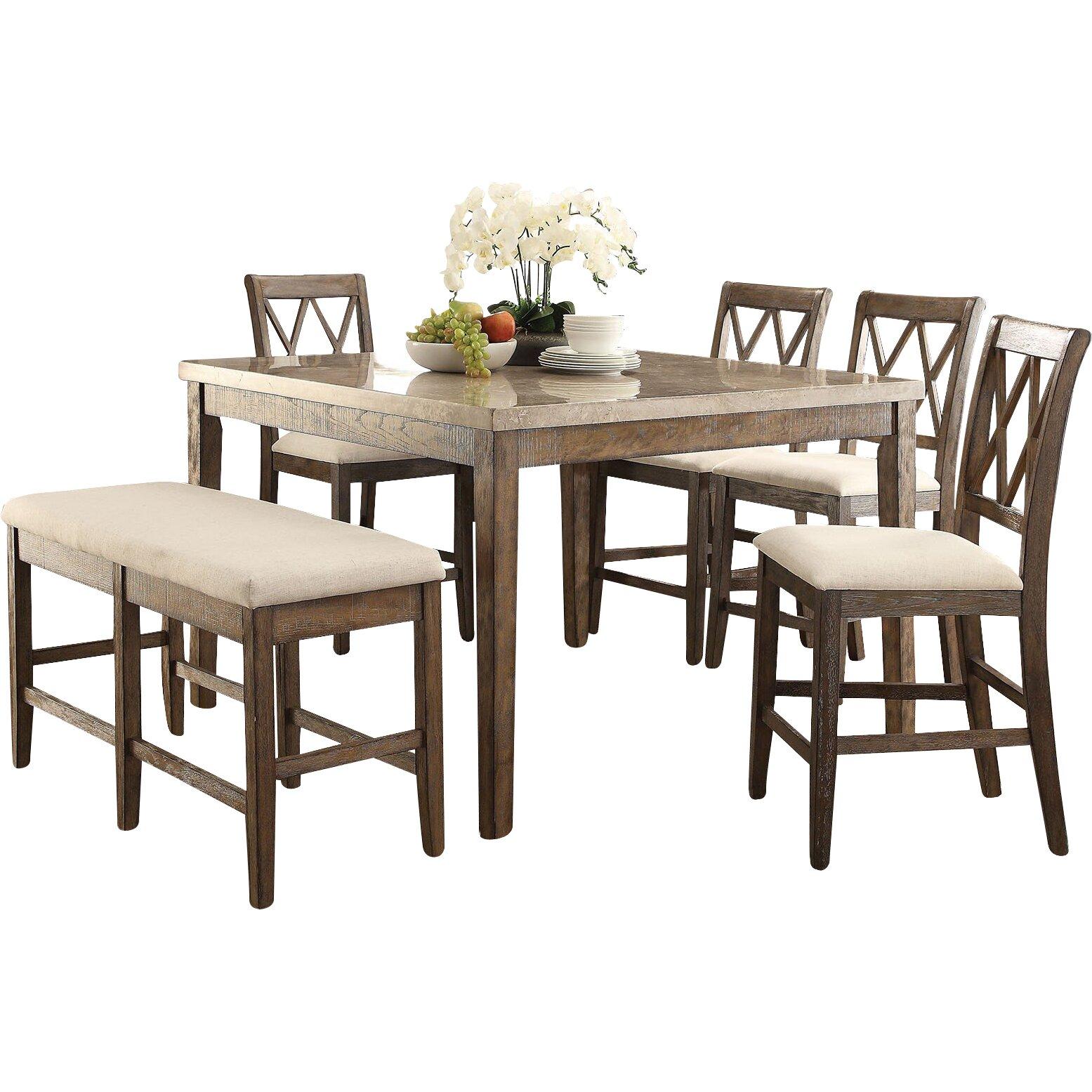 Infini Furnishings 6 Piece Counter Height Dining Set Wayfair