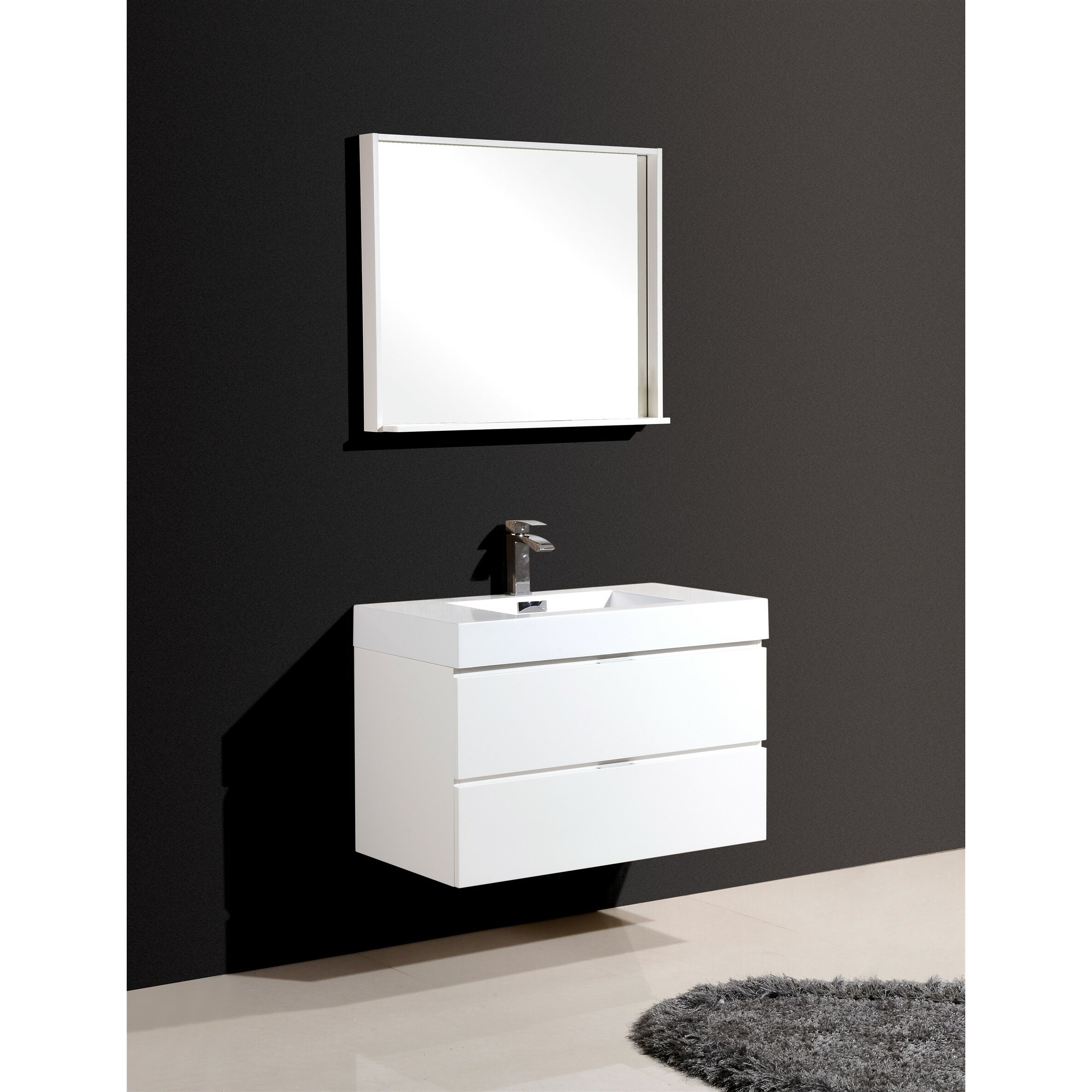 Kube bath bliss 36 single wall mount modern bathroom vanity set reviews wayfair - Kona modern bathroom vanity set ...