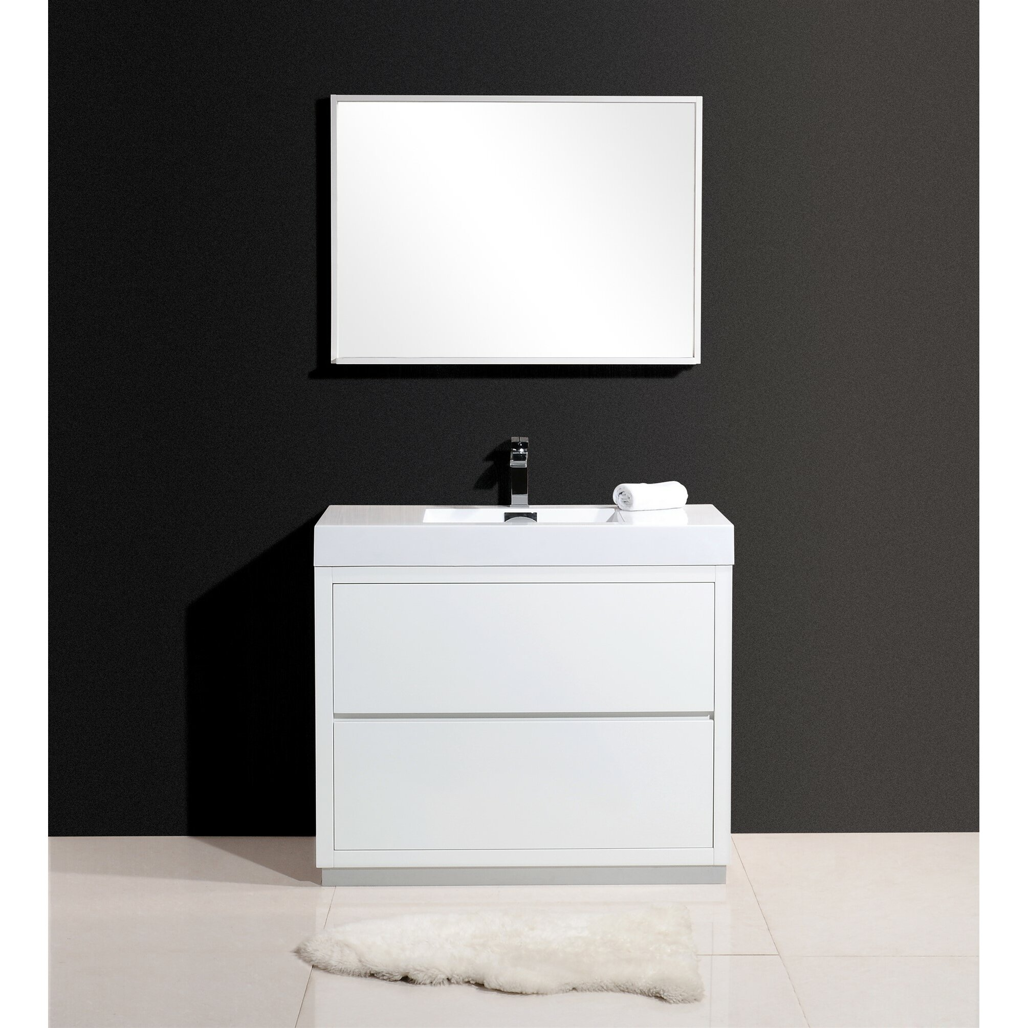 Kube bath bliss 40 single free standing modern bathroom vanity set reviews wayfair - Kona modern bathroom vanity set ...