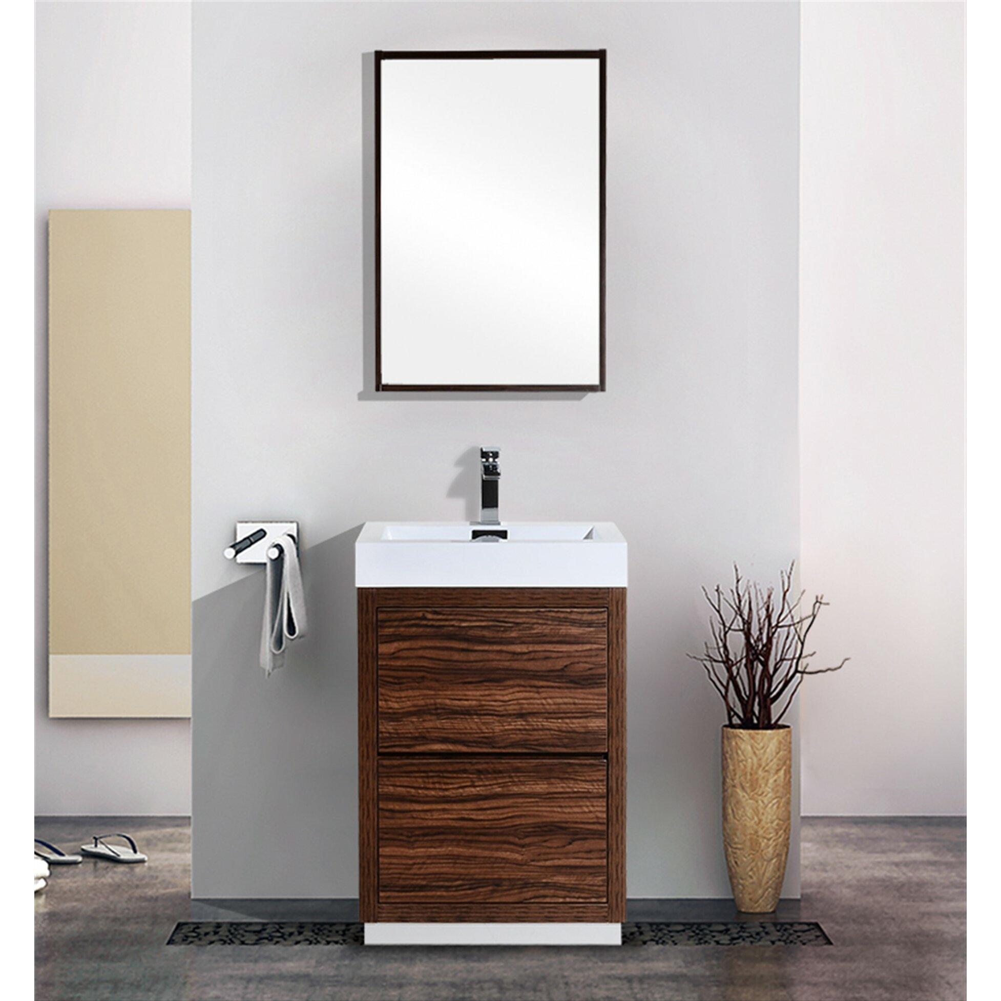 Kube Bath Bliss 24 Single Free Standing Modern Bathroom Vanity Set Reviews Wayfair