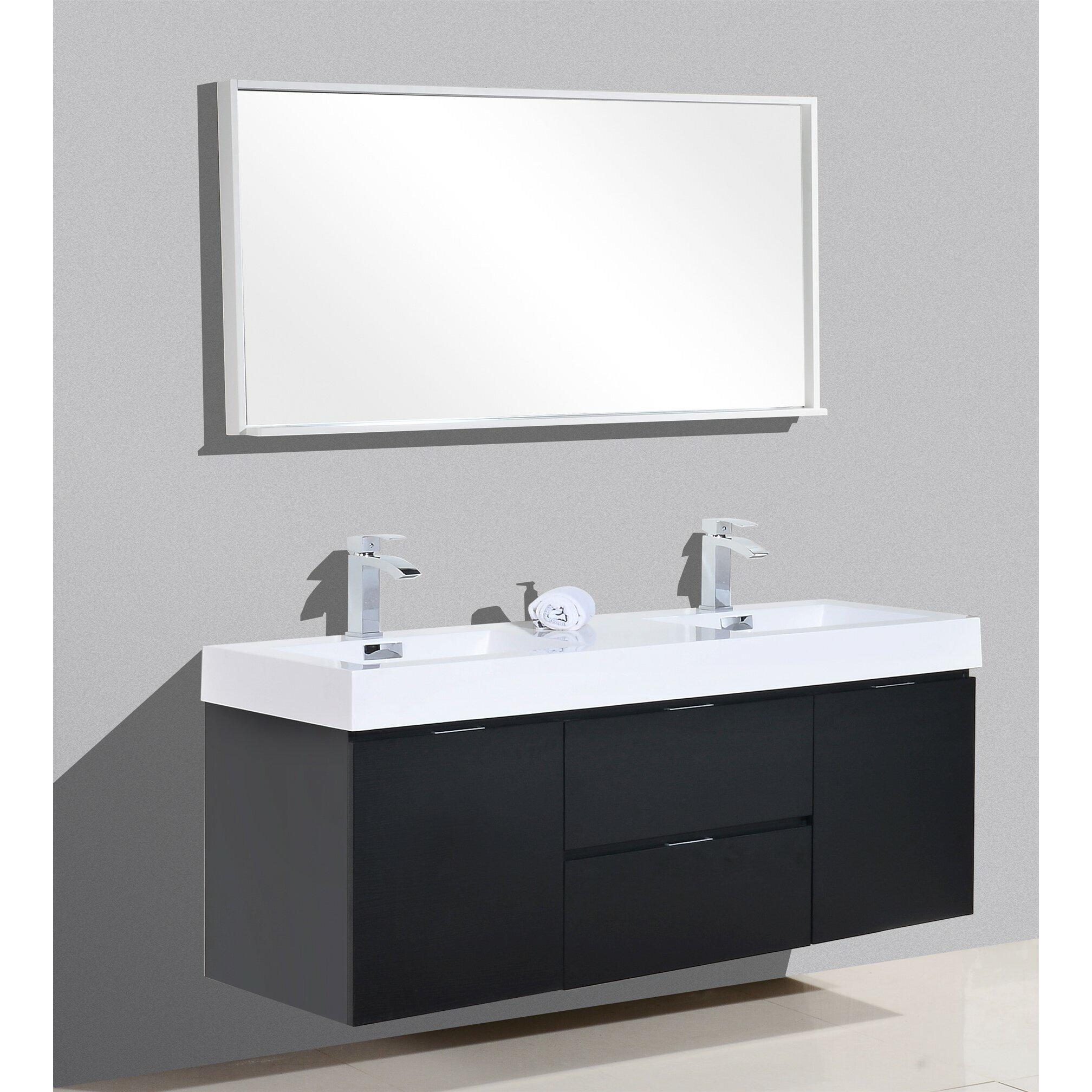 Kube Bath Bliss 60 Double Wall Mount Modern Bathroom Vanity Set Reviews Wayfair