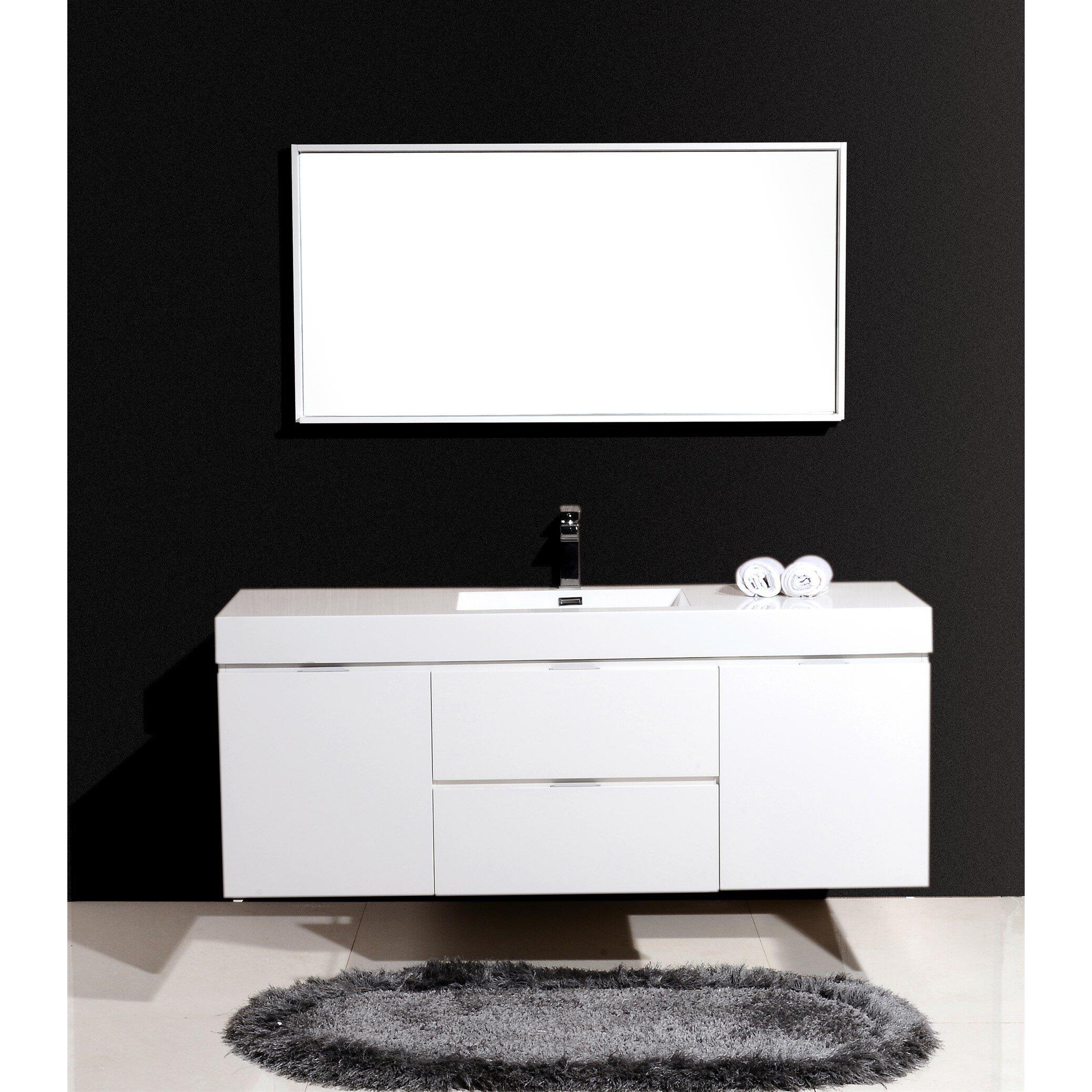 kube bath bliss 60 single wall mount modern bathroom vanity set